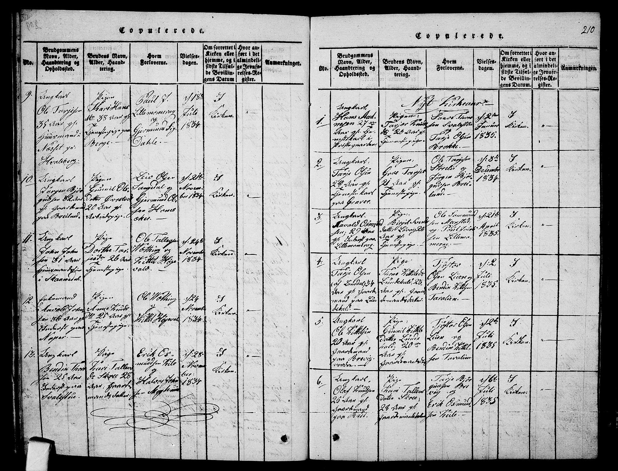 SAKO, Fyresdal kirkebøker, G/Ga/L0001: Klokkerbok nr. I 1, 1816-1840, s. 210