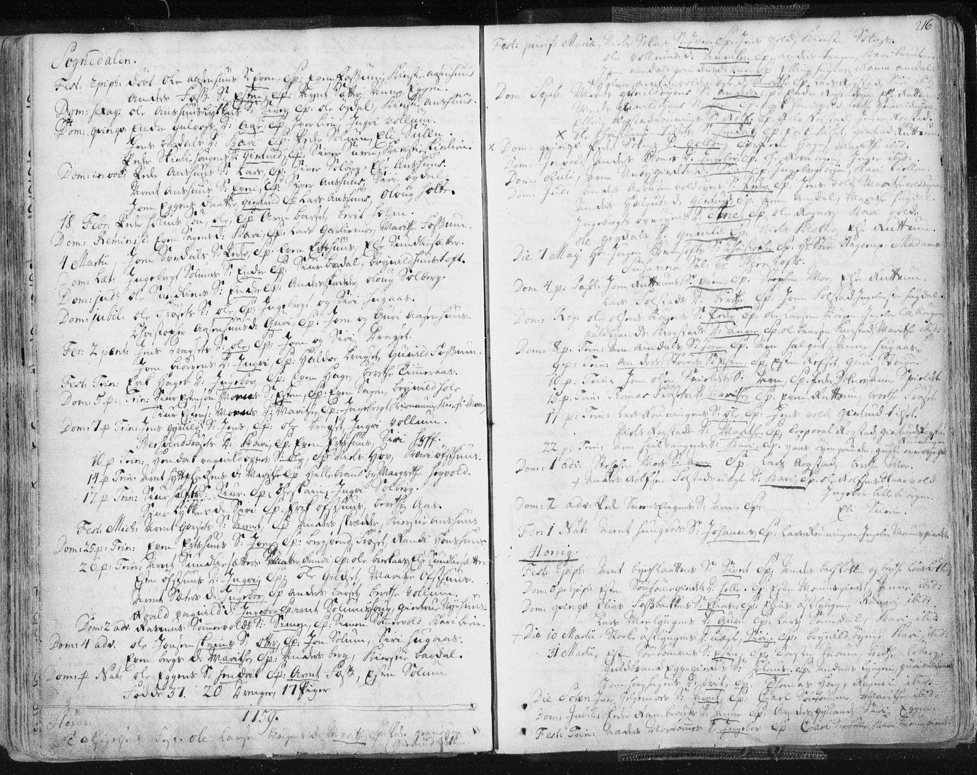 SAT, Ministerialprotokoller, klokkerbøker og fødselsregistre - Sør-Trøndelag, 687/L0991: Ministerialbok nr. 687A02, 1747-1790, s. 216
