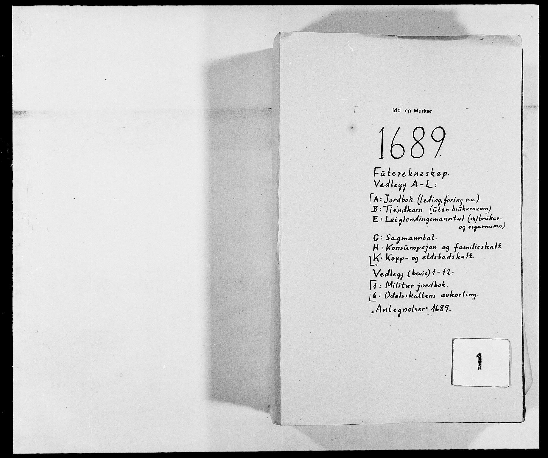 RA, Rentekammeret inntil 1814, Reviderte regnskaper, Fogderegnskap, R01/L0008: Fogderegnskap Idd og Marker, 1689, s. 1