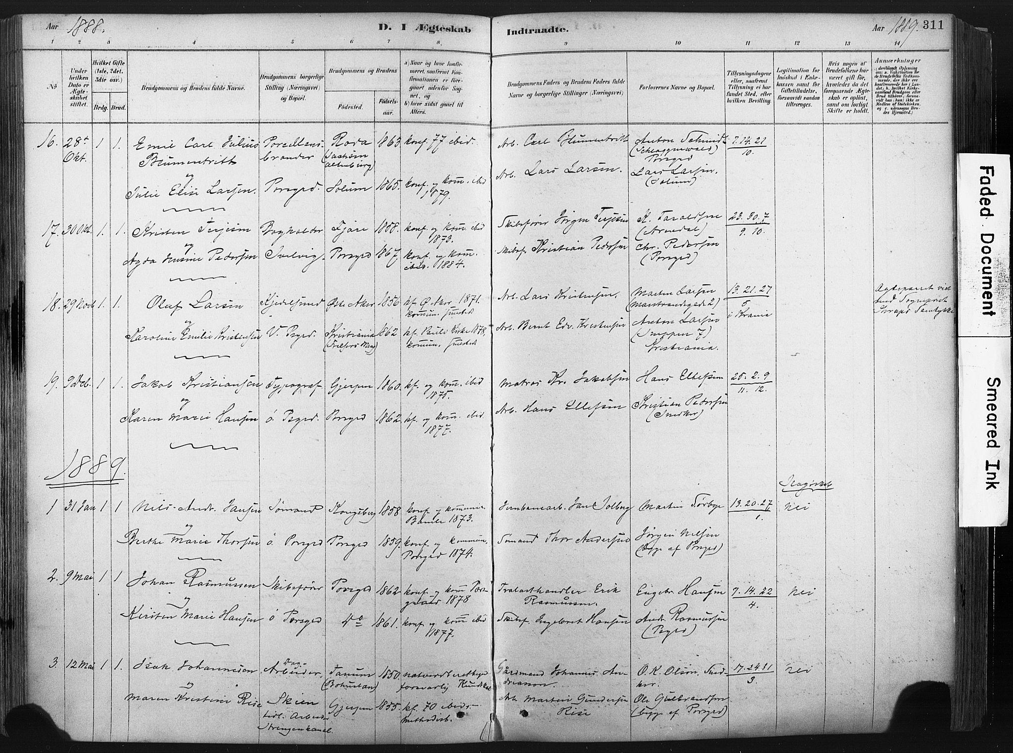 SAKO, Porsgrunn kirkebøker , F/Fa/L0008: Ministerialbok nr. 8, 1878-1895, s. 311