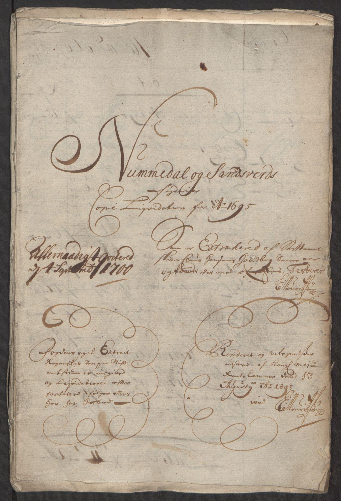 RA, Rentekammeret inntil 1814, Reviderte regnskaper, Fogderegnskap, R24/L1575: Fogderegnskap Numedal og Sandsvær, 1692-1695, s. 39