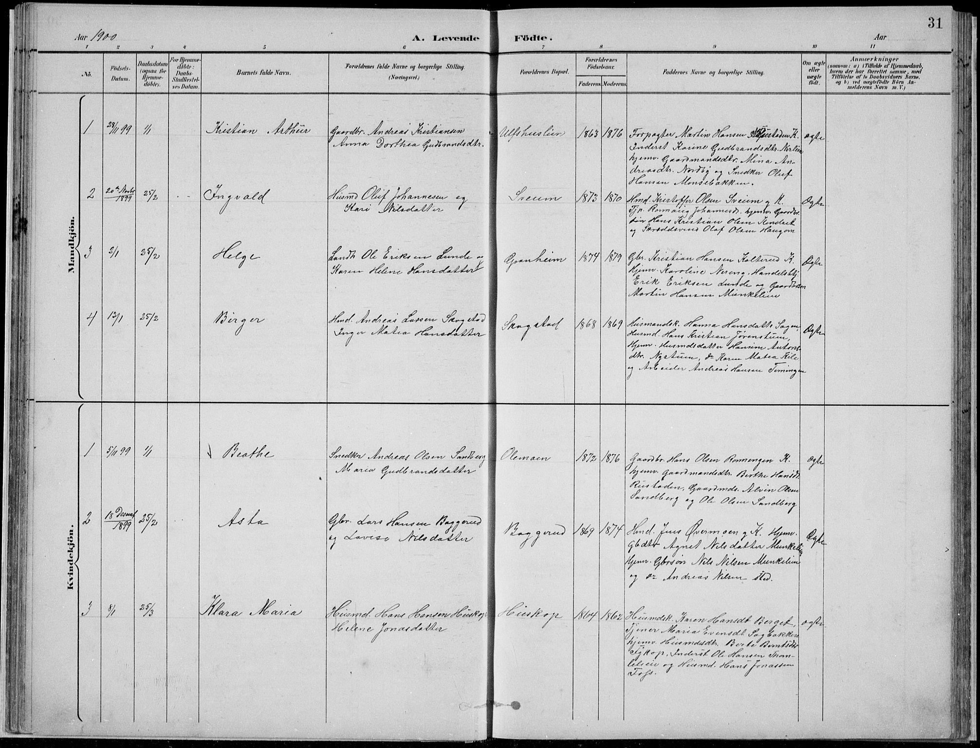 SAH, Nordre Land prestekontor, Klokkerbok nr. 13, 1891-1904, s. 31