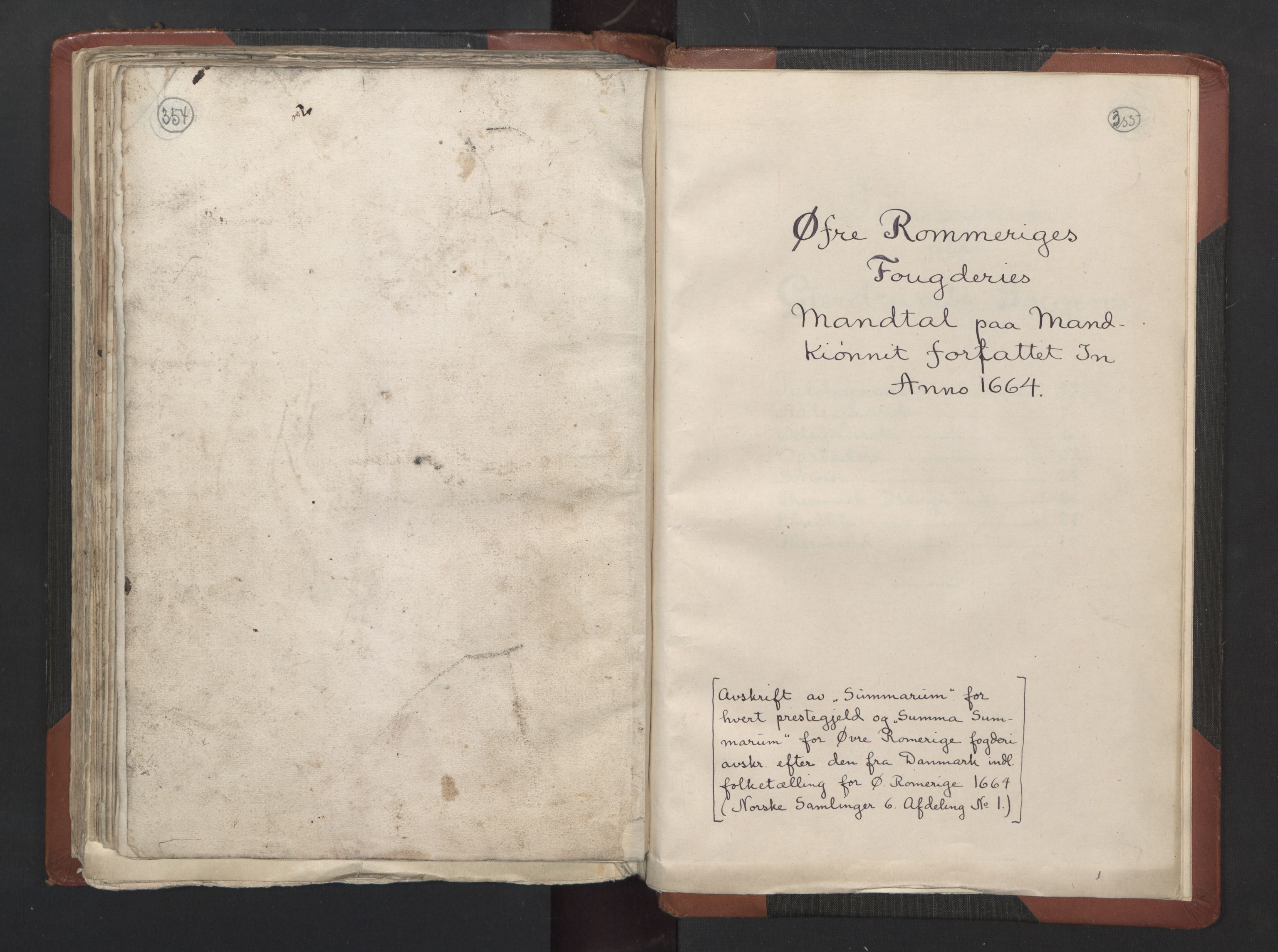 RA, Fogdenes og sorenskrivernes manntall 1664-1666, nr. 2: Aker fogderi, Follo fogderi, Nedre Romerike fogderi og Øvre Romerike fogderi, 1664, s. 354-355
