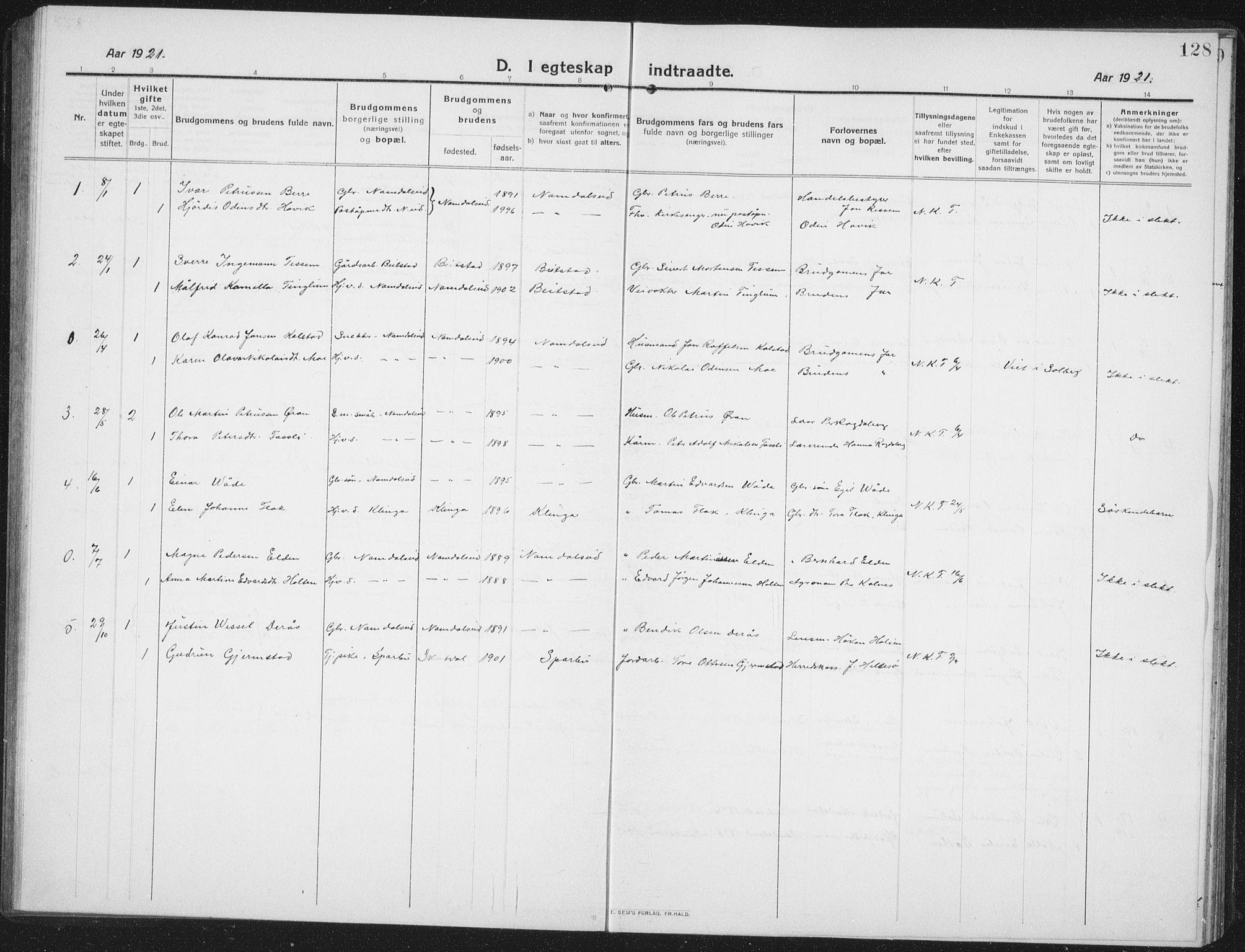 SAT, Ministerialprotokoller, klokkerbøker og fødselsregistre - Nord-Trøndelag, 742/L0413: Klokkerbok nr. 742C04, 1911-1938, s. 128