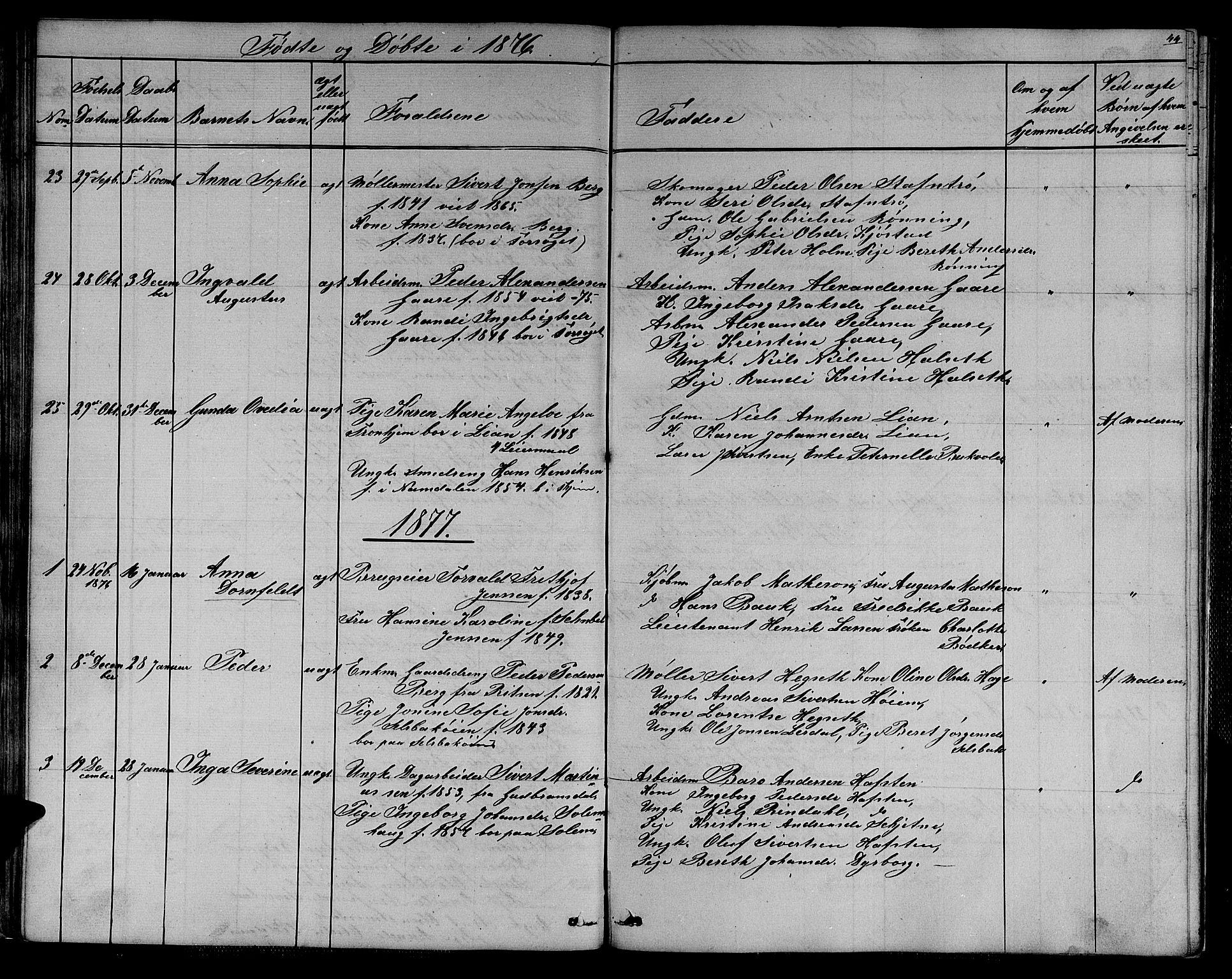SAT, Ministerialprotokoller, klokkerbøker og fødselsregistre - Sør-Trøndelag, 611/L0353: Klokkerbok nr. 611C01, 1854-1881, s. 44