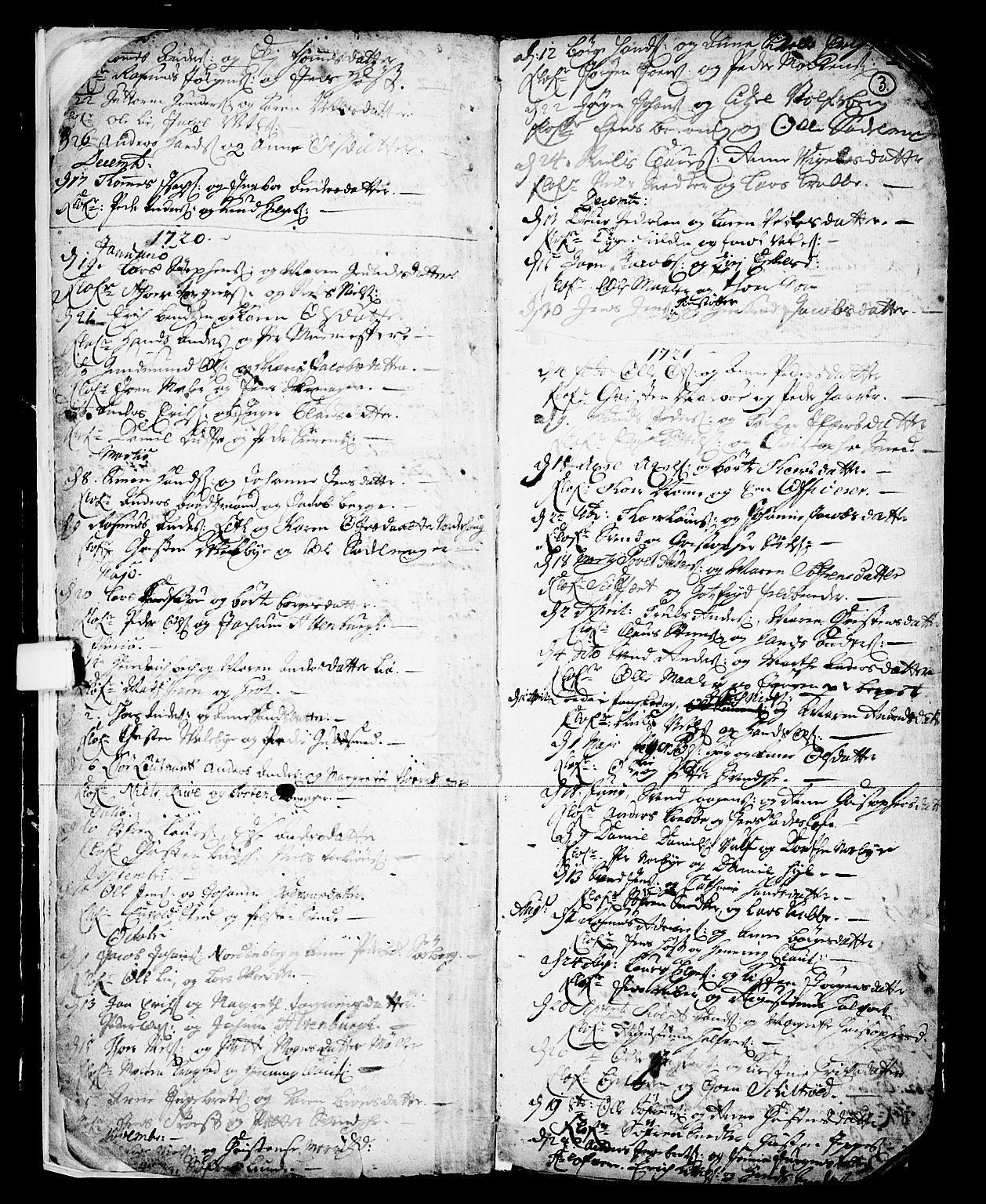 SAKO, Skien kirkebøker, F/Fa/L0002: Ministerialbok nr. 2, 1716-1757, s. 3