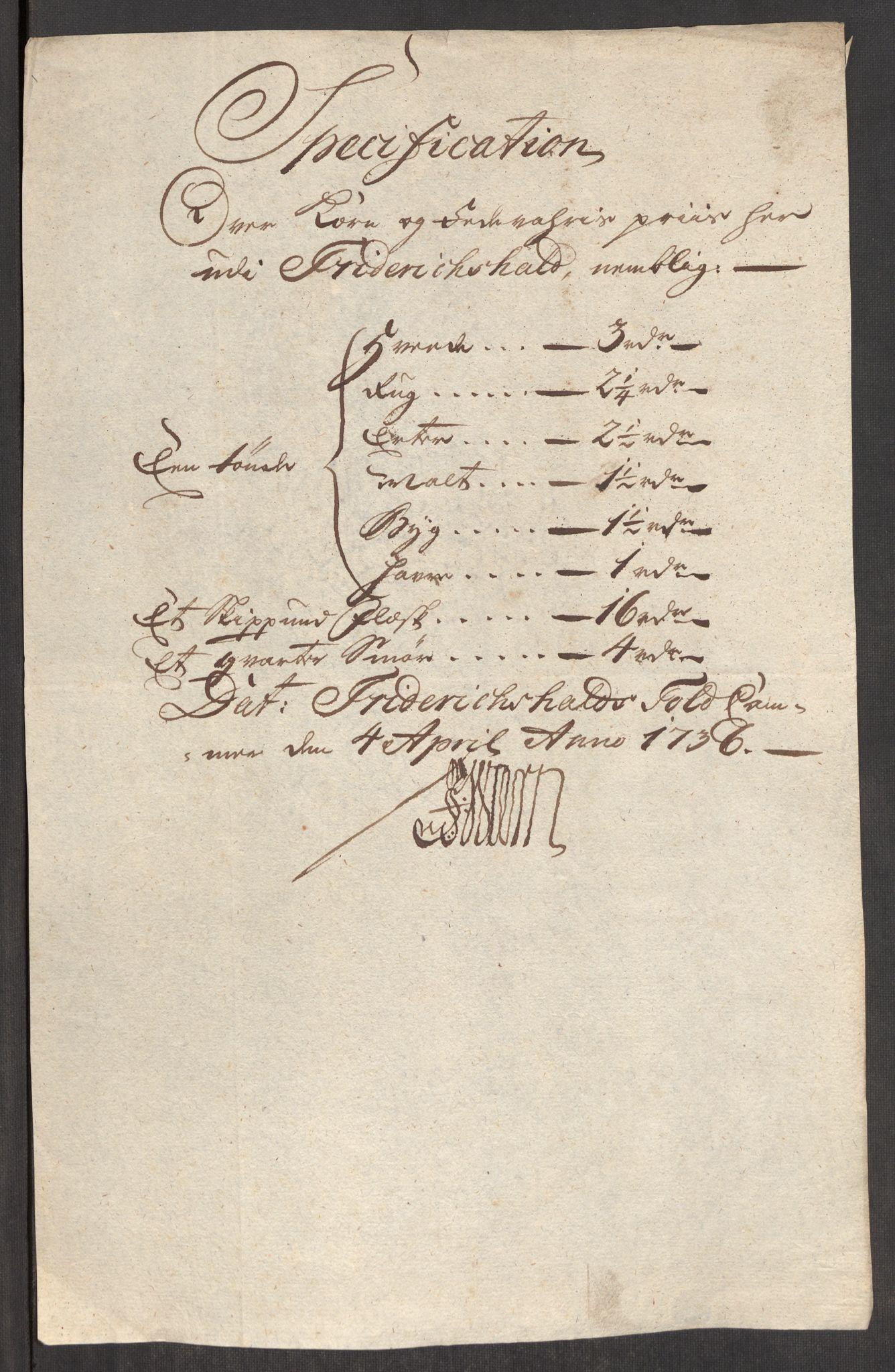 RA, Rentekammeret inntil 1814, Realistisk ordnet avdeling, Oe/L0001: [Ø1]: Priskuranter, 1712-1739, s. 328
