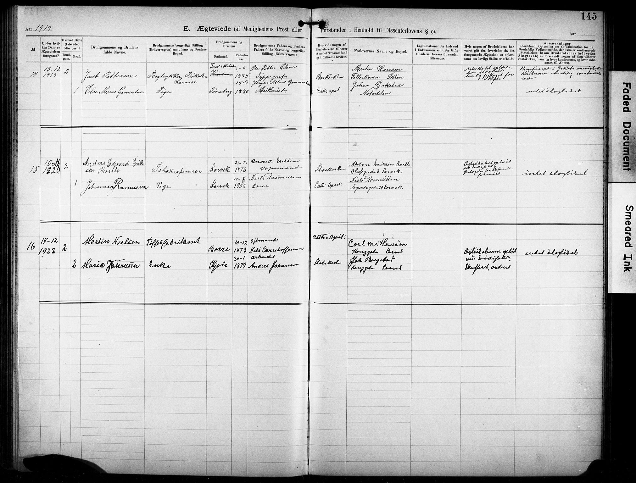 SAKO, Den katolsk-apostoliske menighet i Larvik, F/Fa/L0001: Dissenterprotokoll nr. 1, 1892-1933, s. 145