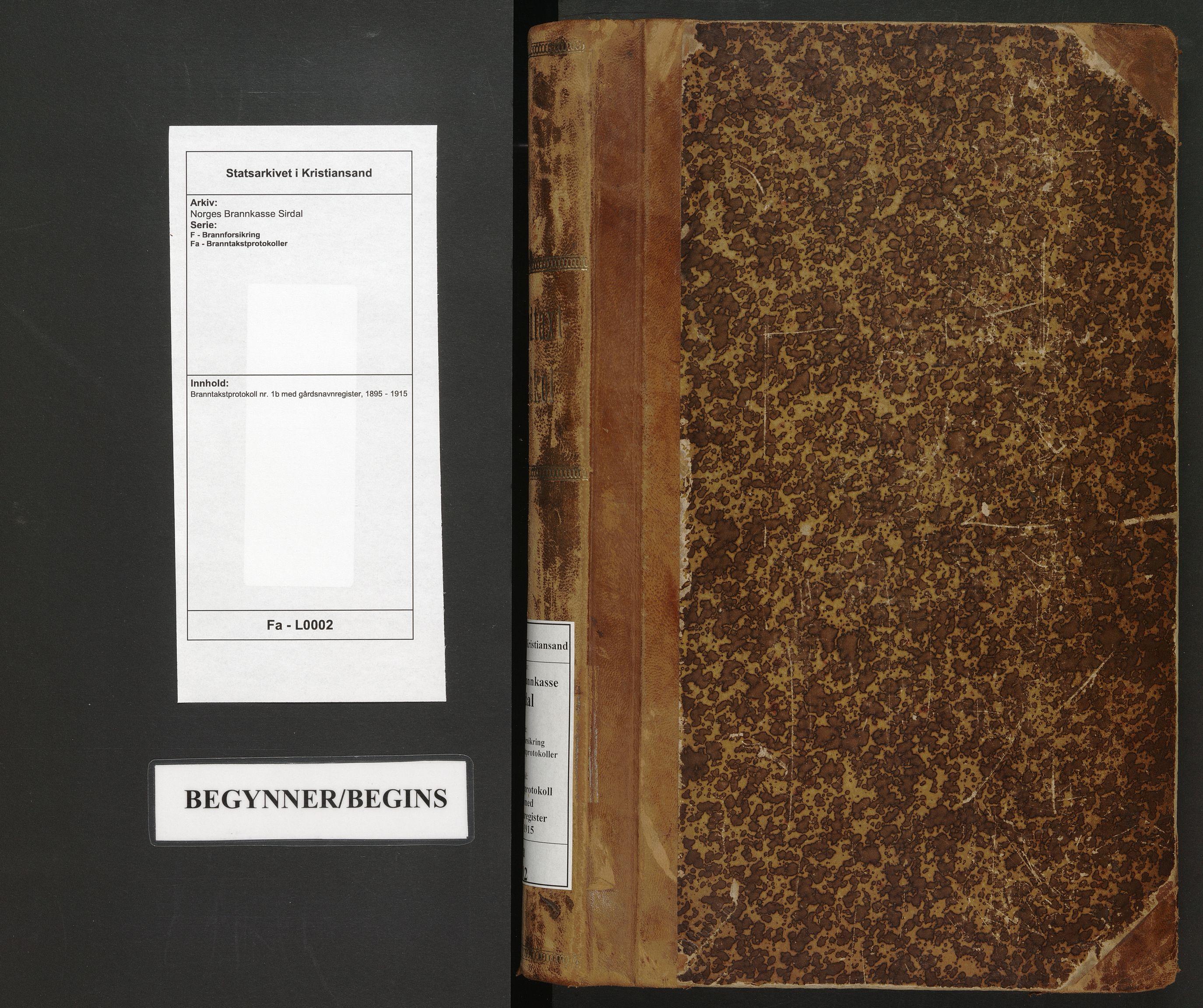 SAK, Norges Brannkasse Sirdal, F/Fa/L0002: Branntakstprotokoll nr. 1b med gårdsnavnregister, 1895-1915