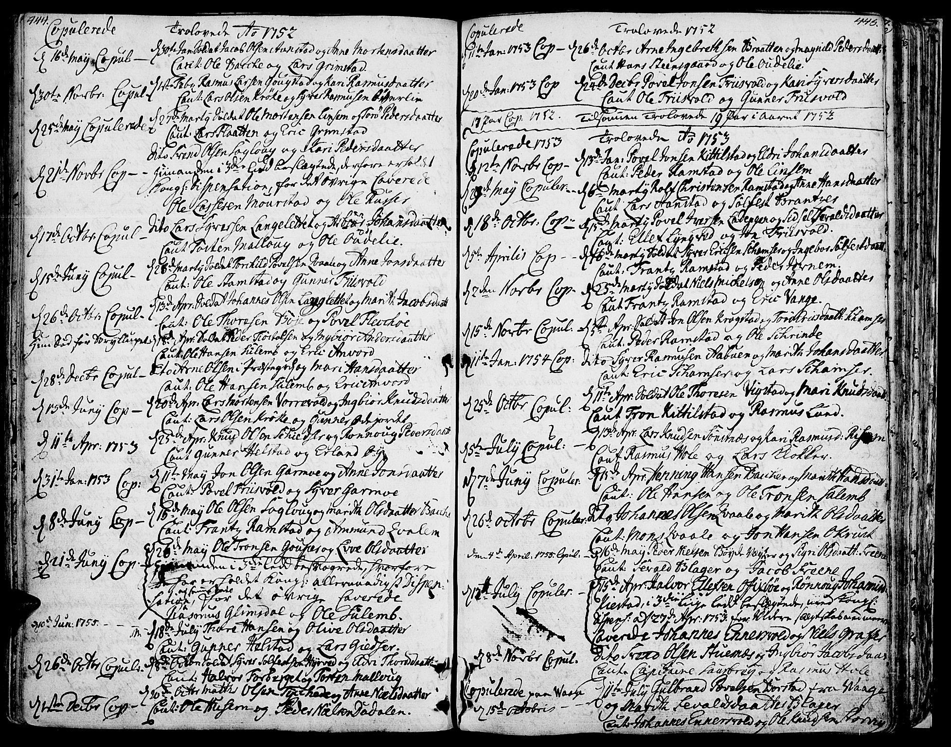 SAH, Lom prestekontor, K/L0002: Ministerialbok nr. 2, 1749-1801, s. 444-445