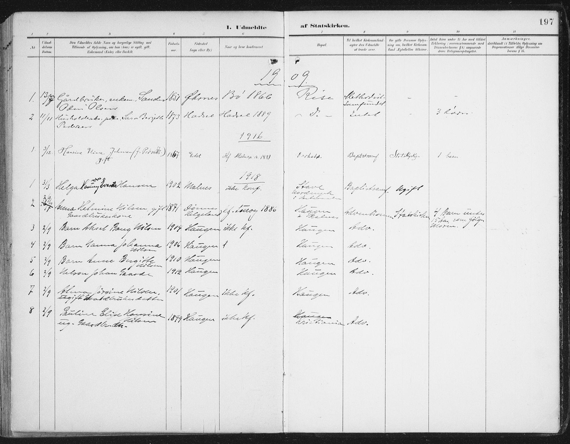 SAT, Ministerialprotokoller, klokkerbøker og fødselsregistre - Nordland, 892/L1321: Ministerialbok nr. 892A02, 1902-1918, s. 197