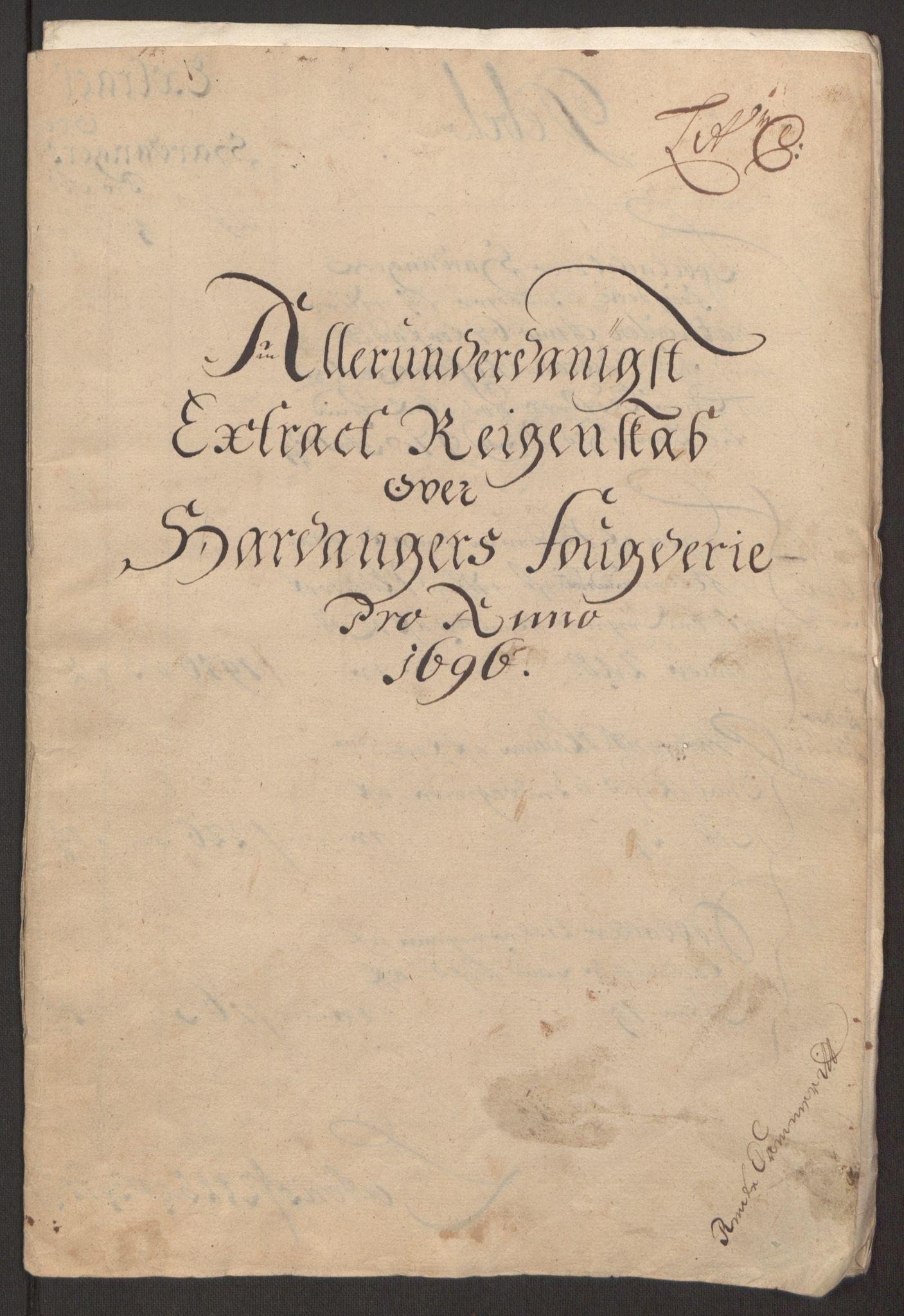 RA, Rentekammeret inntil 1814, Reviderte regnskaper, Fogderegnskap, R48/L2976: Fogderegnskap Sunnhordland og Hardanger, 1695-1696, s. 422