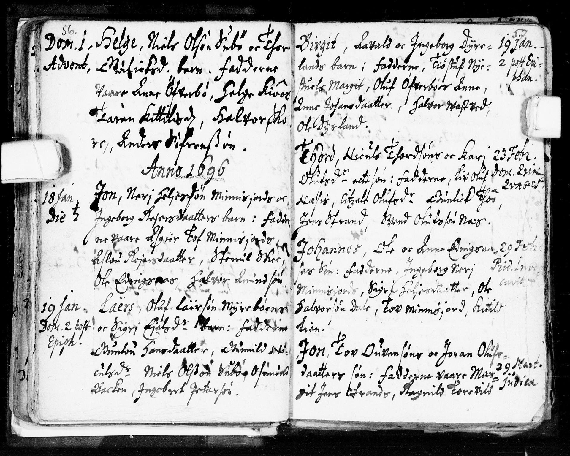 SAKO, Seljord kirkebøker, F/Fa/L0002: Ministerialbok nr. I 2, 1689-1713, s. 56-57