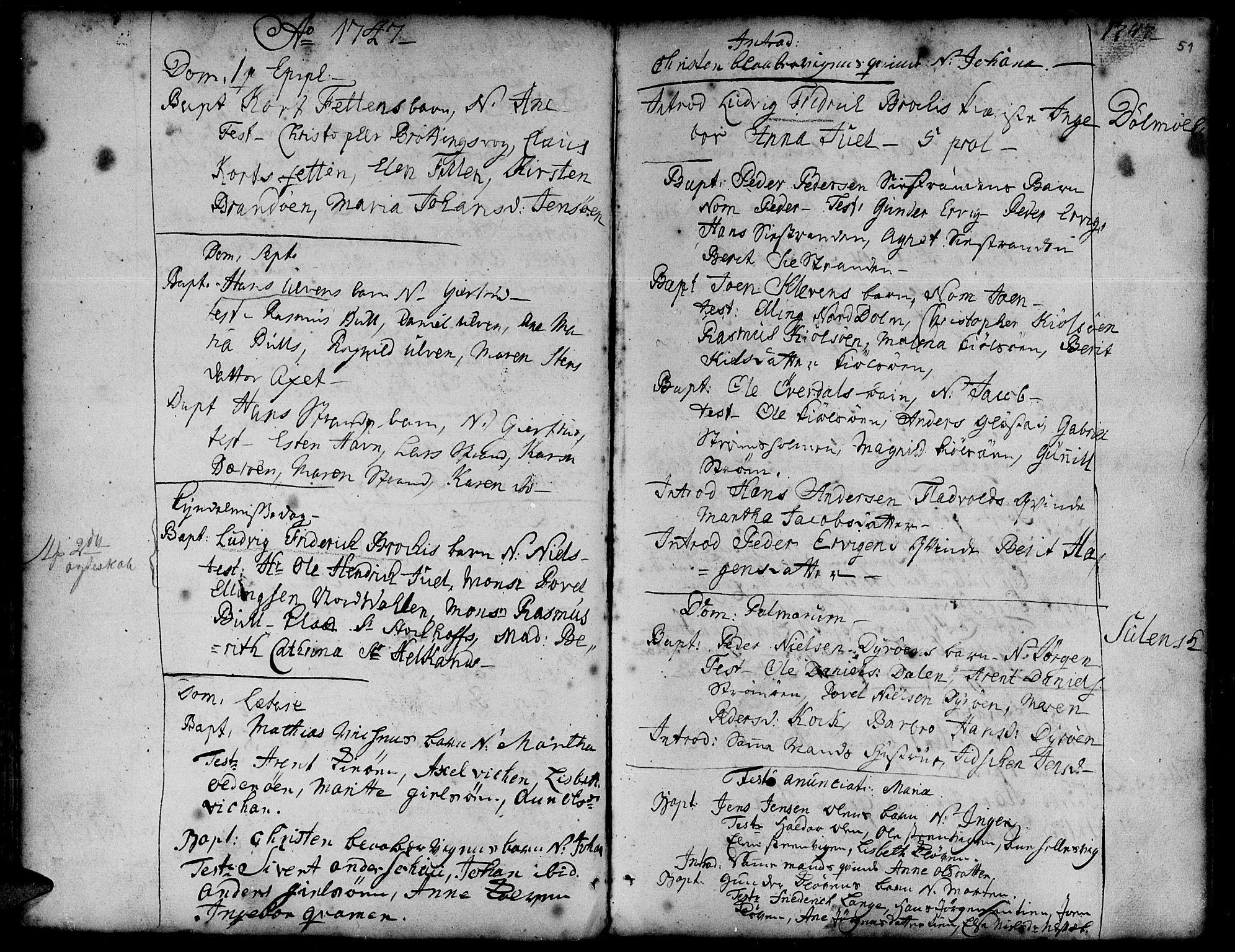SAT, Ministerialprotokoller, klokkerbøker og fødselsregistre - Sør-Trøndelag, 634/L0525: Ministerialbok nr. 634A01, 1736-1775, s. 51