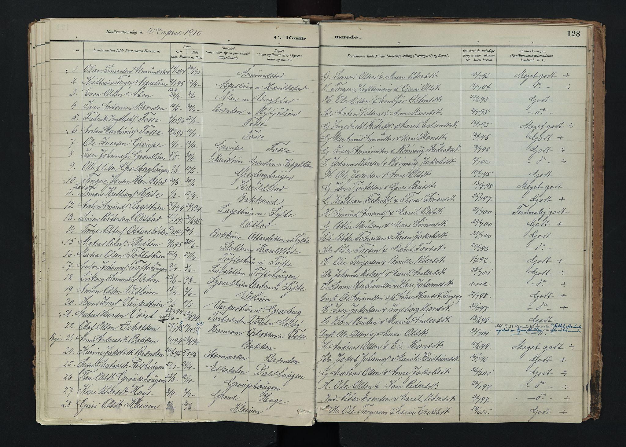 SAH, Nord-Fron prestekontor, Ministerialbok nr. 5, 1884-1914, s. 128