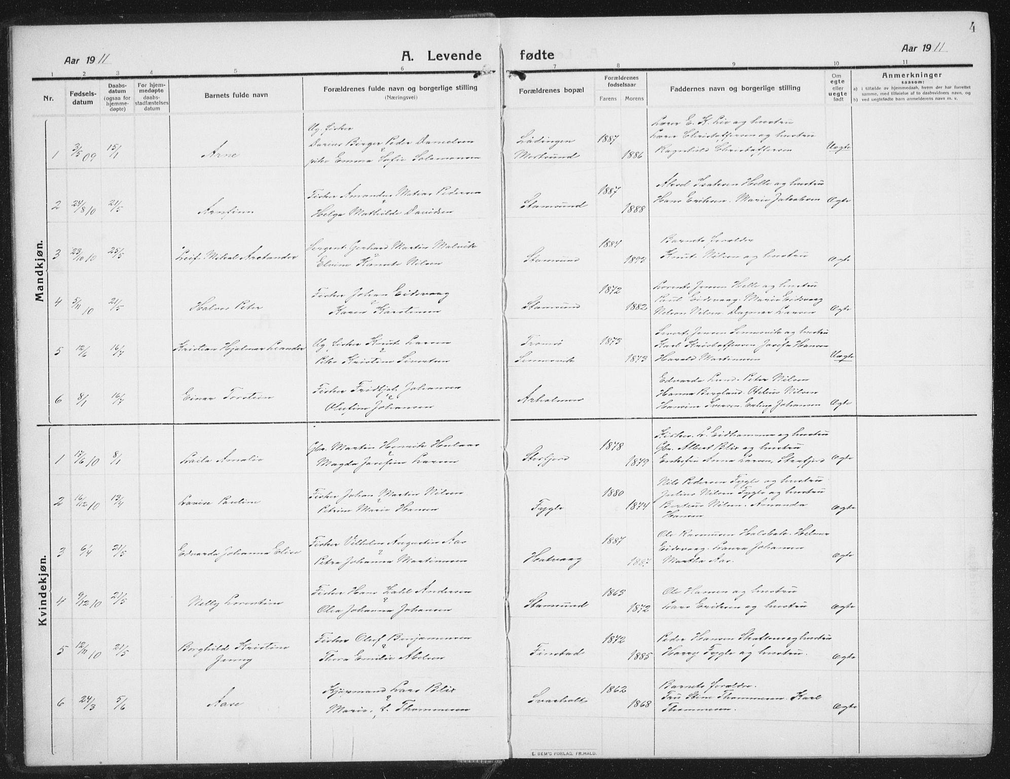 SAT, Ministerialprotokoller, klokkerbøker og fødselsregistre - Nordland, 882/L1183: Klokkerbok nr. 882C01, 1911-1938, s. 4