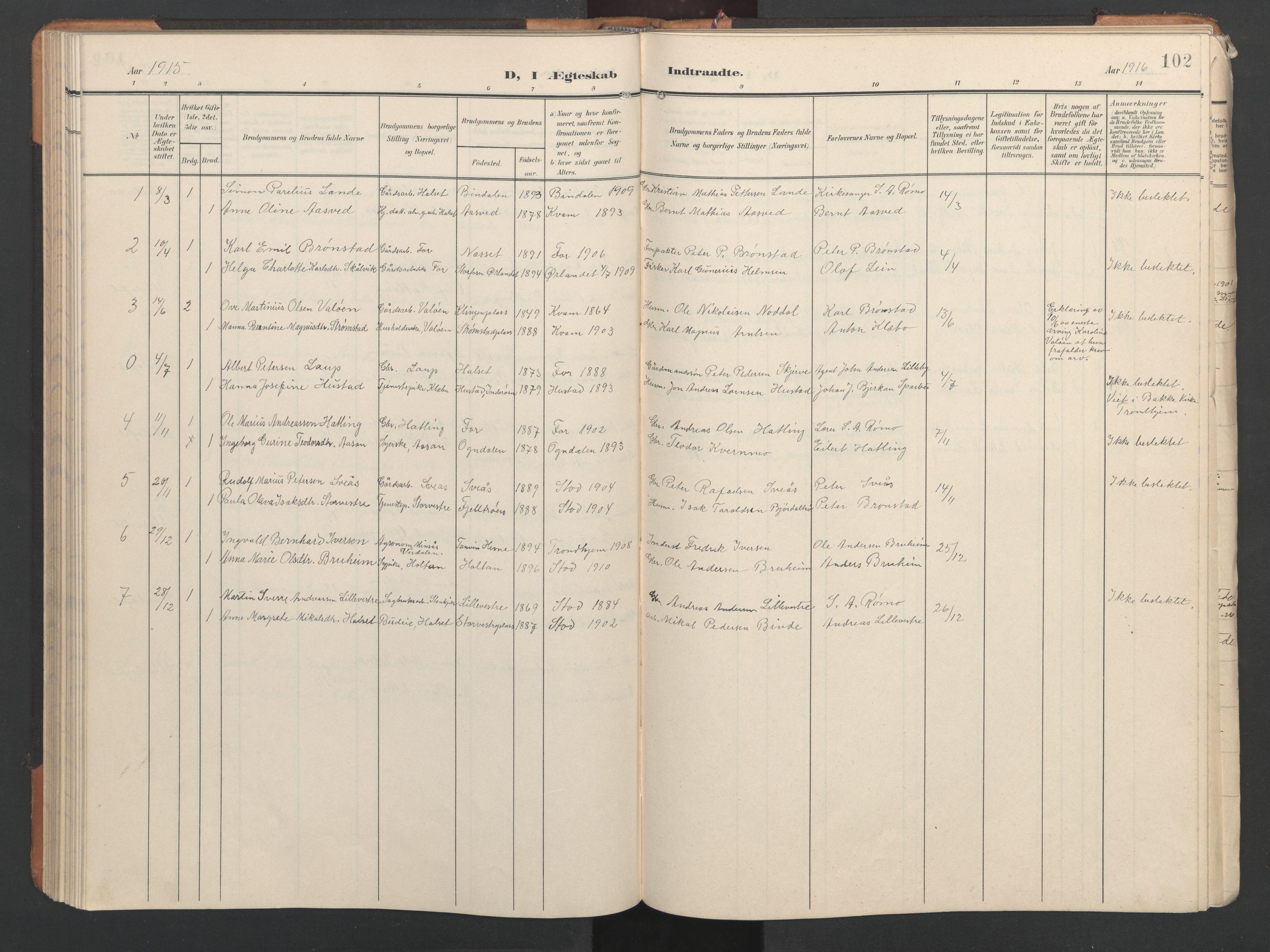 SAT, Ministerialprotokoller, klokkerbøker og fødselsregistre - Nord-Trøndelag, 746/L0455: Klokkerbok nr. 746C01, 1908-1933, s. 102