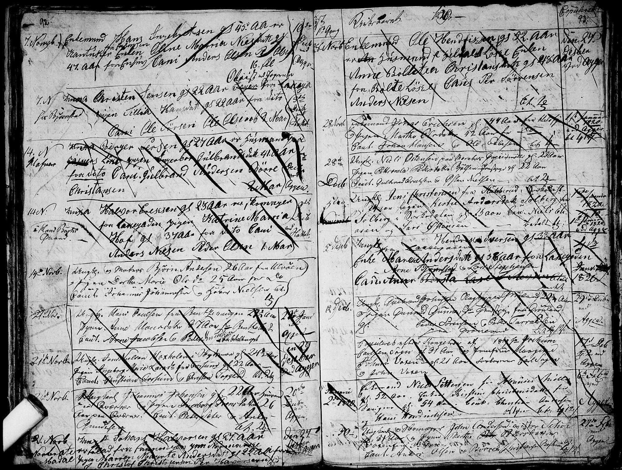 SAO, Aker prestekontor kirkebøker, G/L0001: Klokkerbok nr. 1, 1796-1826, s. 92-93