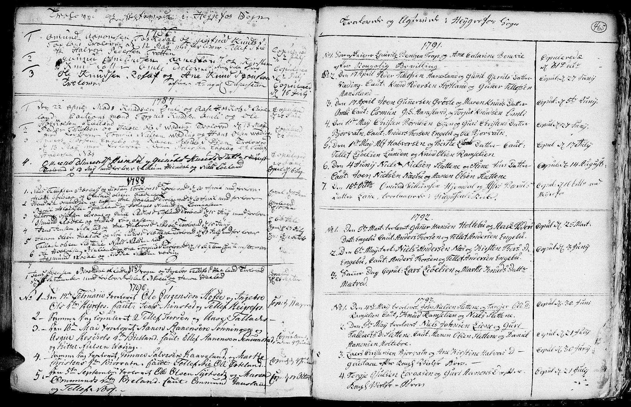 SAK, Hommedal sokneprestkontor, F/Fa/Fab/L0002: Ministerialbok nr. A 2 /3, 1740-1821, s. 465