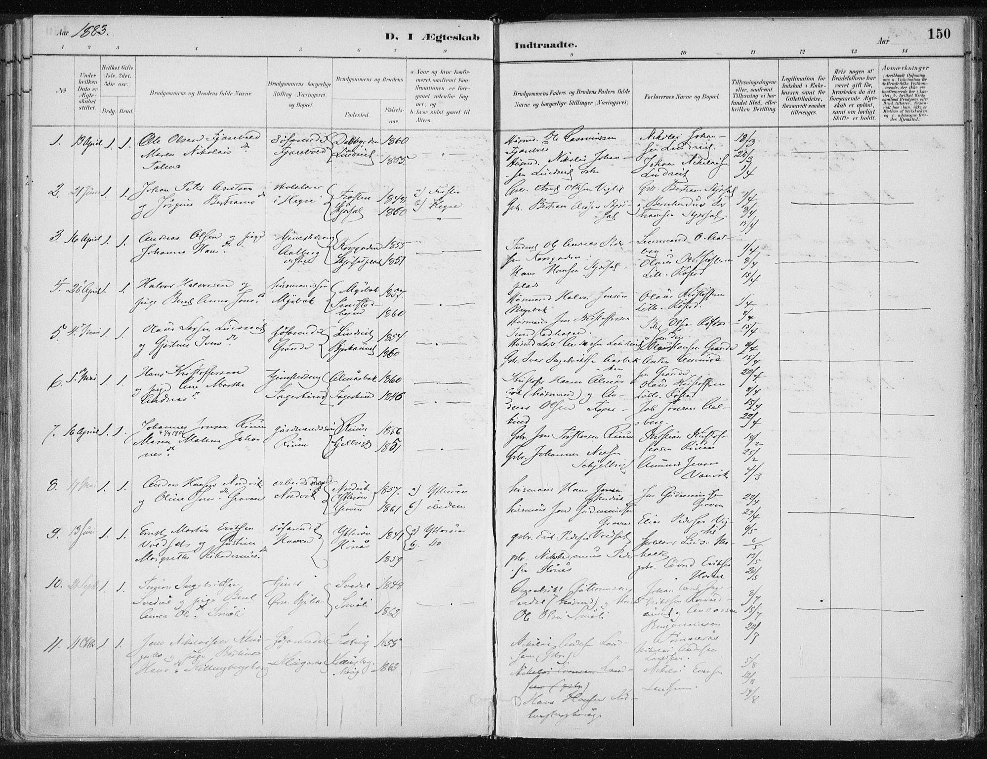 SAT, Ministerialprotokoller, klokkerbøker og fødselsregistre - Nord-Trøndelag, 701/L0010: Ministerialbok nr. 701A10, 1883-1899, s. 150