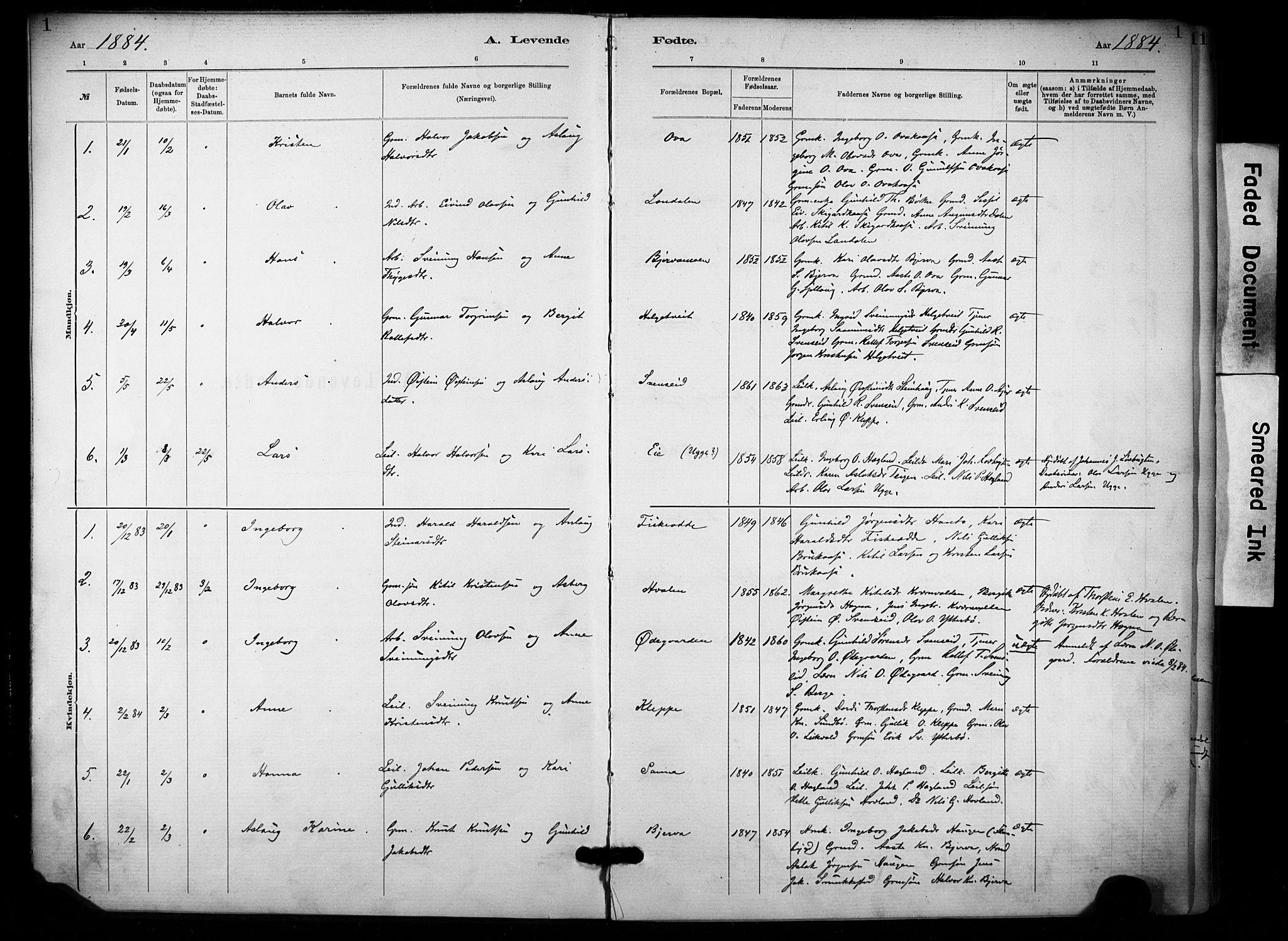 SAKO, Lunde kirkebøker, F/Fa/L0002: Ministerialbok nr. I 2, 1884-1892, s. 1