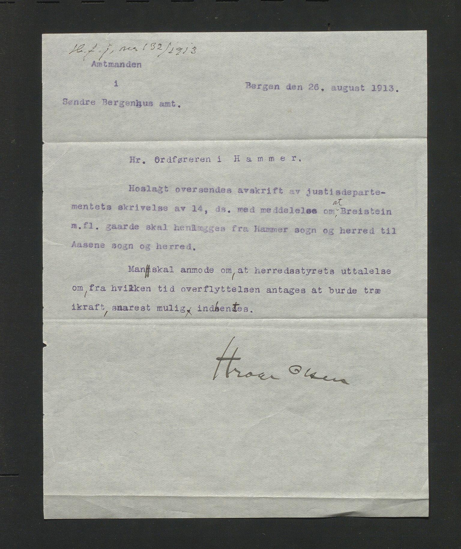 IKAH, Hamre kommune. Formannskapet, D/Db/L0011: Kommunedeling , 1913