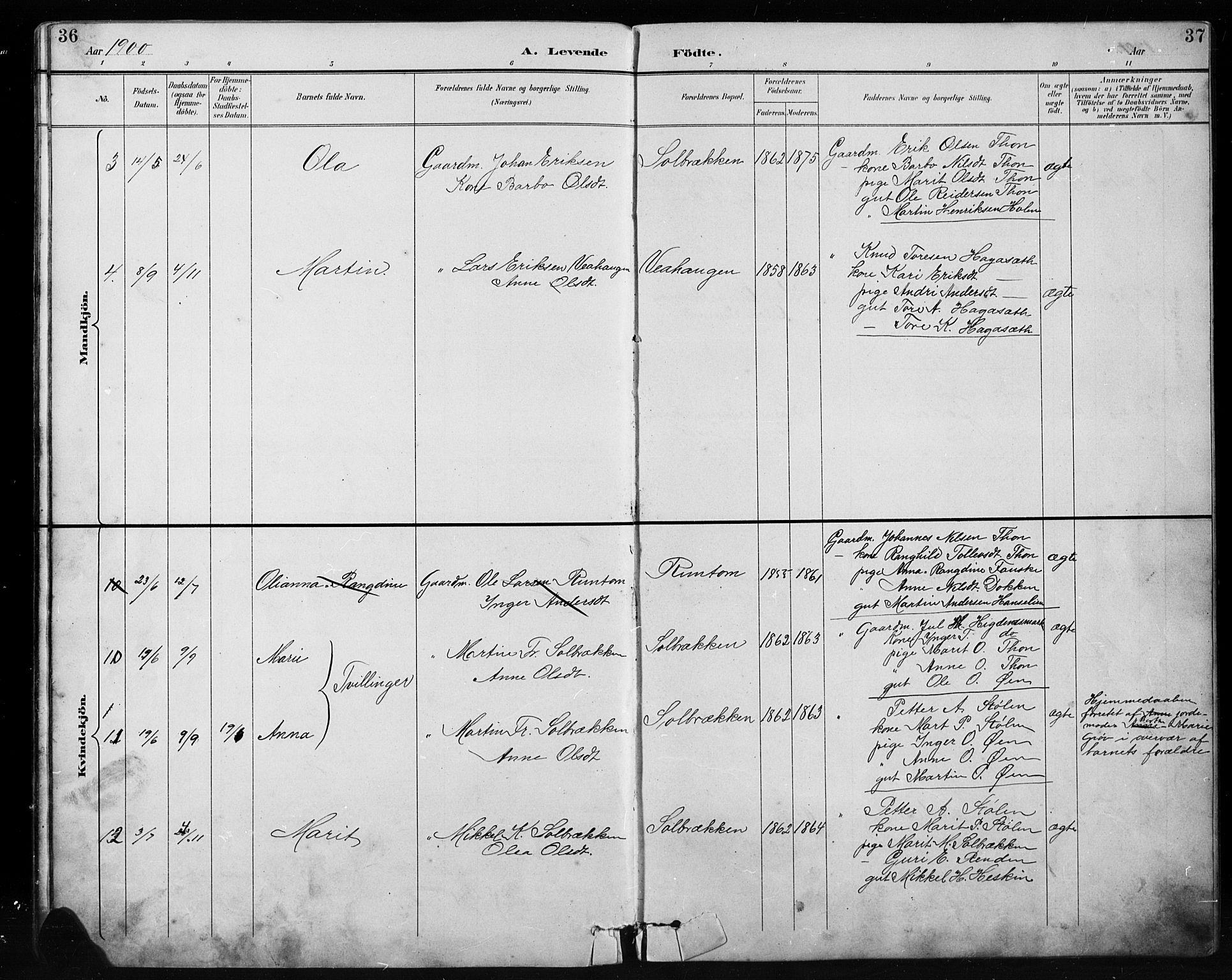 SAH, Etnedal prestekontor, H/Ha/Hab/Habb/L0001: Klokkerbok nr. II 1, 1894-1911, s. 36-37
