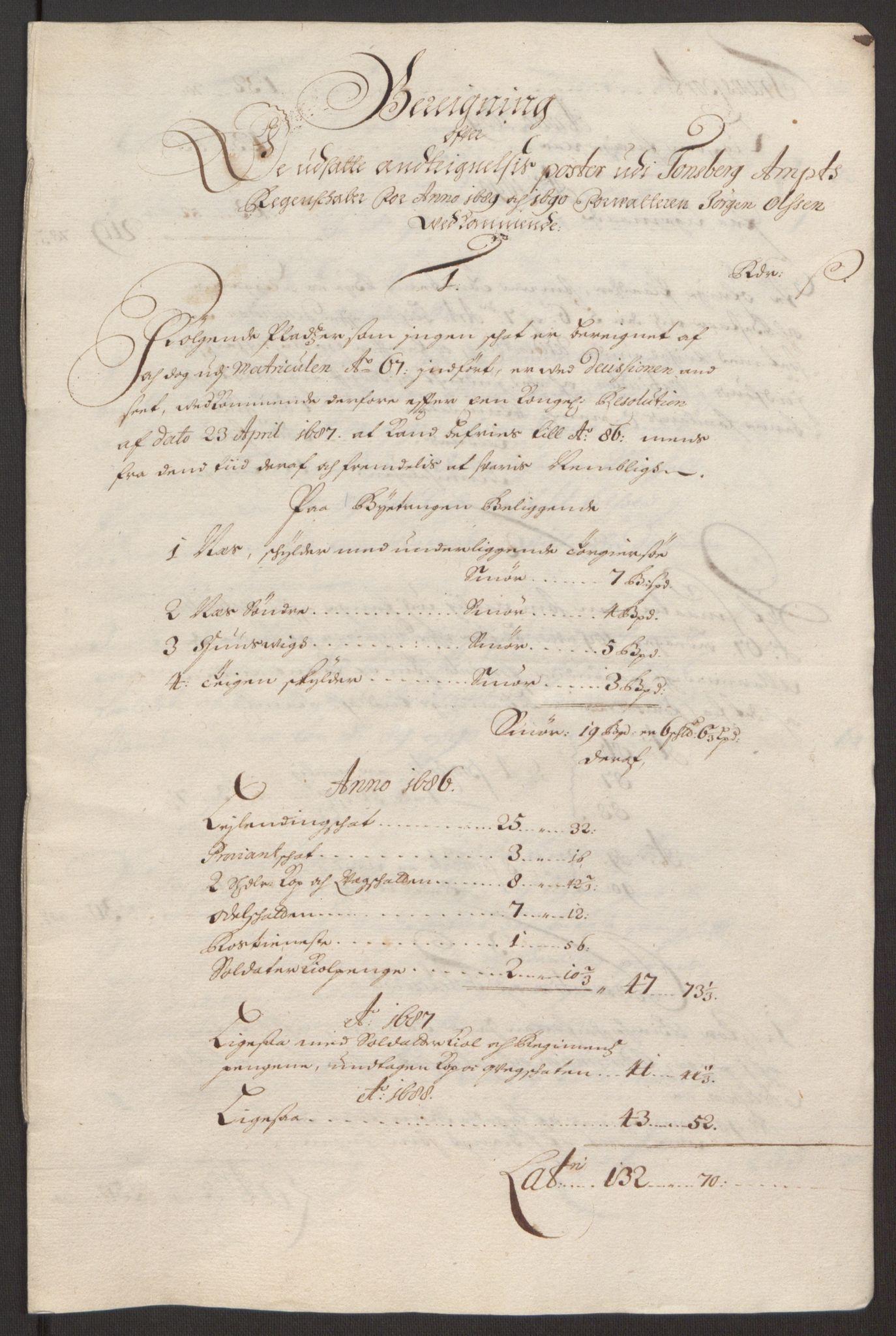 RA, Rentekammeret inntil 1814, Reviderte regnskaper, Fogderegnskap, R32/L1866: Fogderegnskap Jarlsberg grevskap, 1693, s. 21