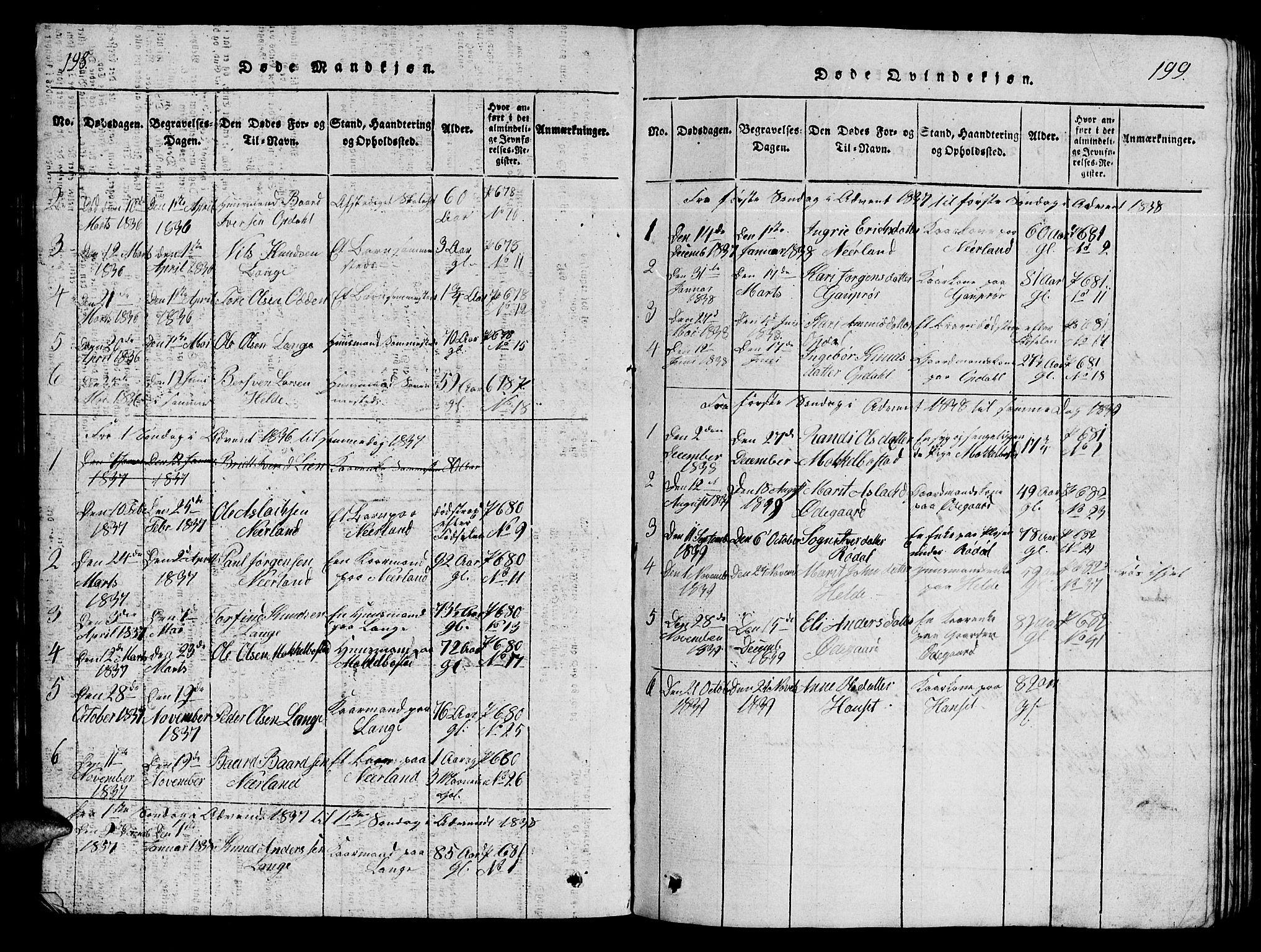 SAT, Ministerialprotokoller, klokkerbøker og fødselsregistre - Møre og Romsdal, 554/L0644: Klokkerbok nr. 554C01, 1818-1851, s. 198-199