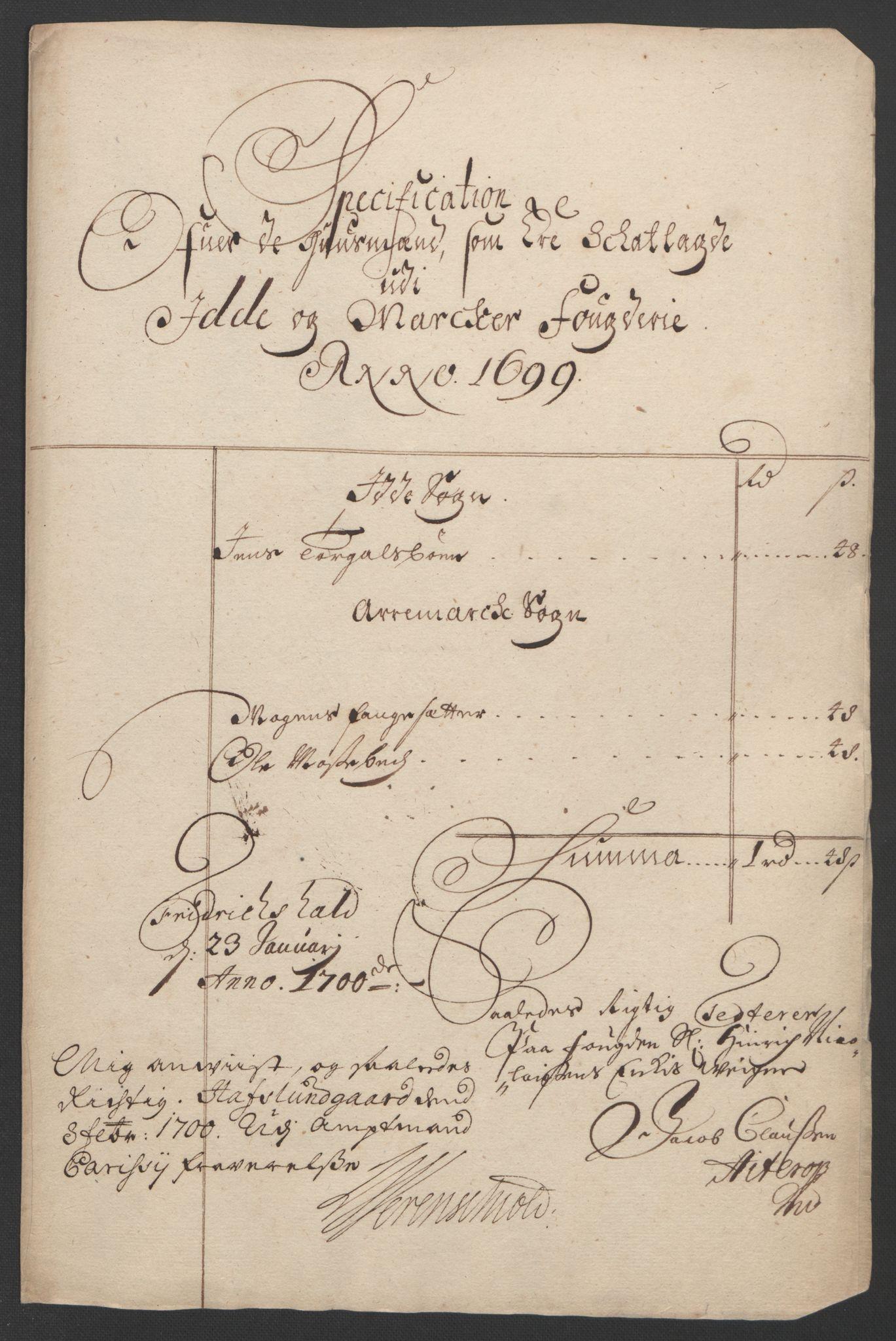 RA, Rentekammeret inntil 1814, Reviderte regnskaper, Fogderegnskap, R01/L0014: Fogderegnskap Idd og Marker, 1699, s. 88