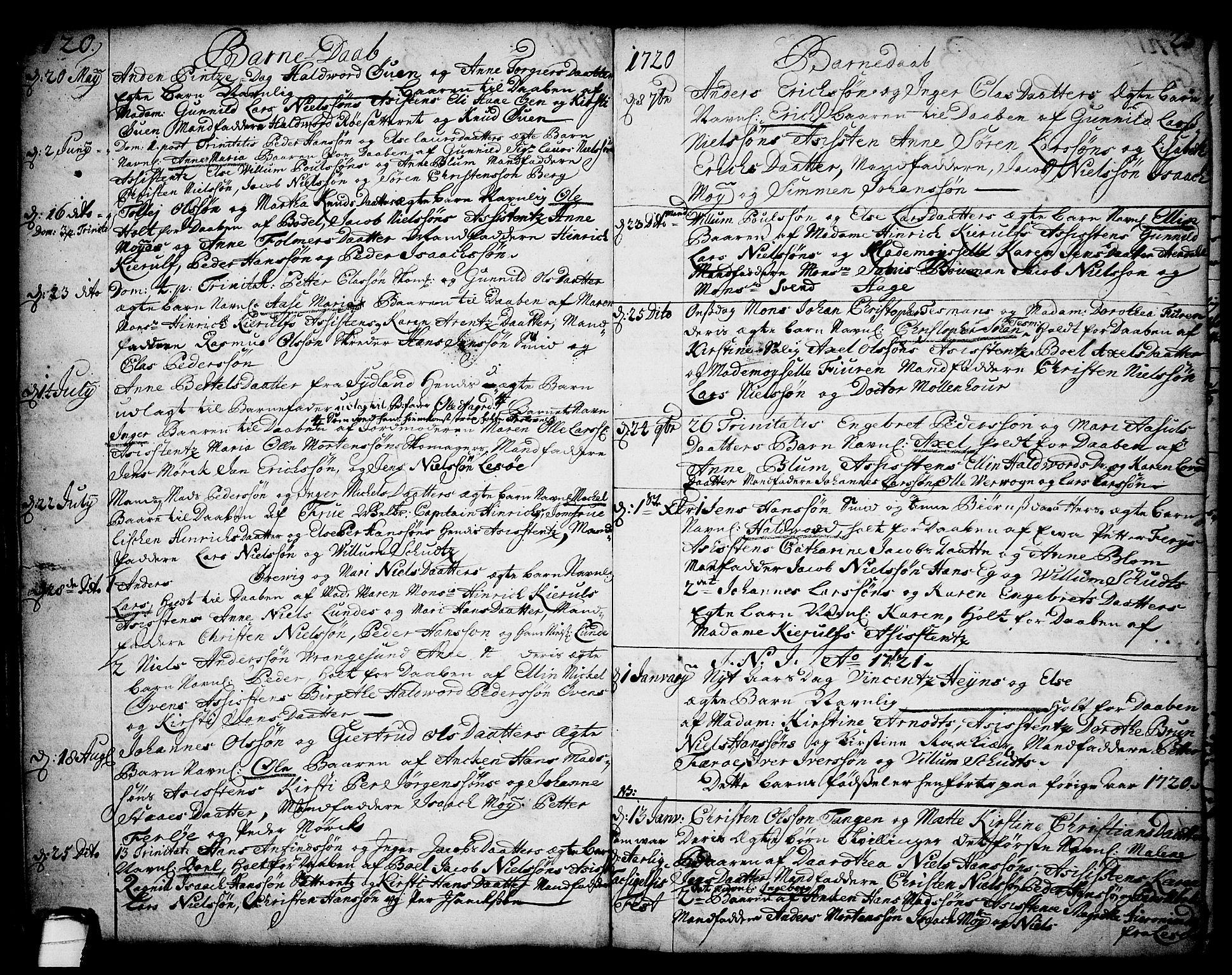 SAKO, Brevik kirkebøker, F/Fa/L0002: Ministerialbok nr. 2, 1720-1764, s. 25