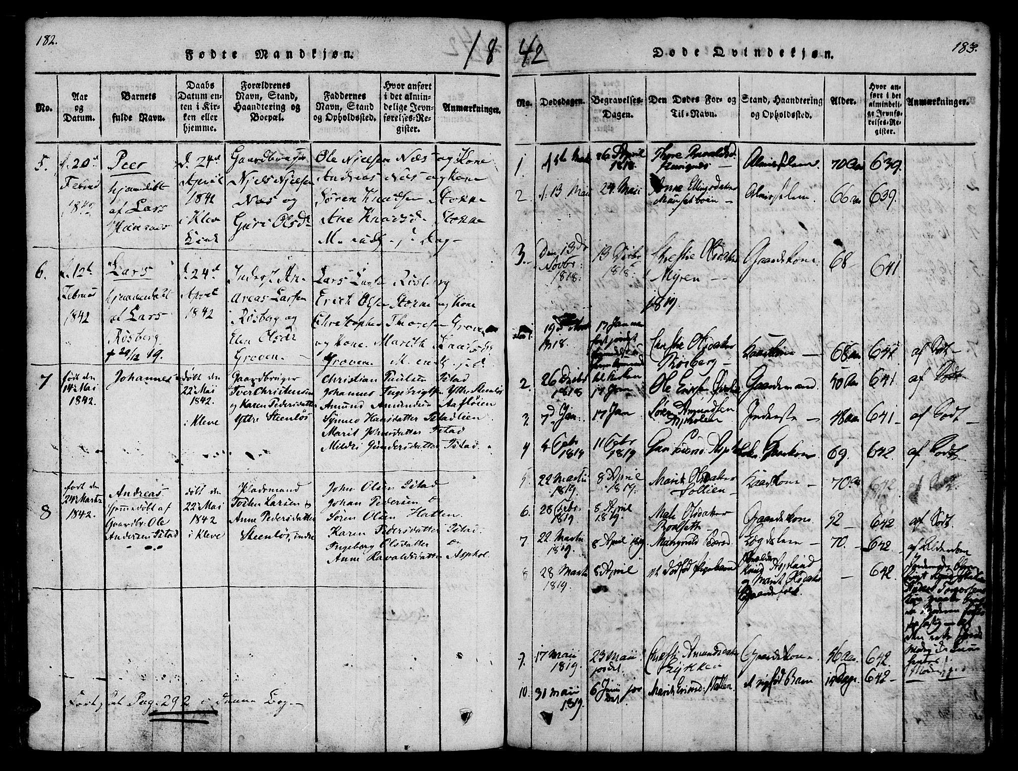SAT, Ministerialprotokoller, klokkerbøker og fødselsregistre - Møre og Romsdal, 557/L0679: Ministerialbok nr. 557A01, 1818-1843, s. 182-183