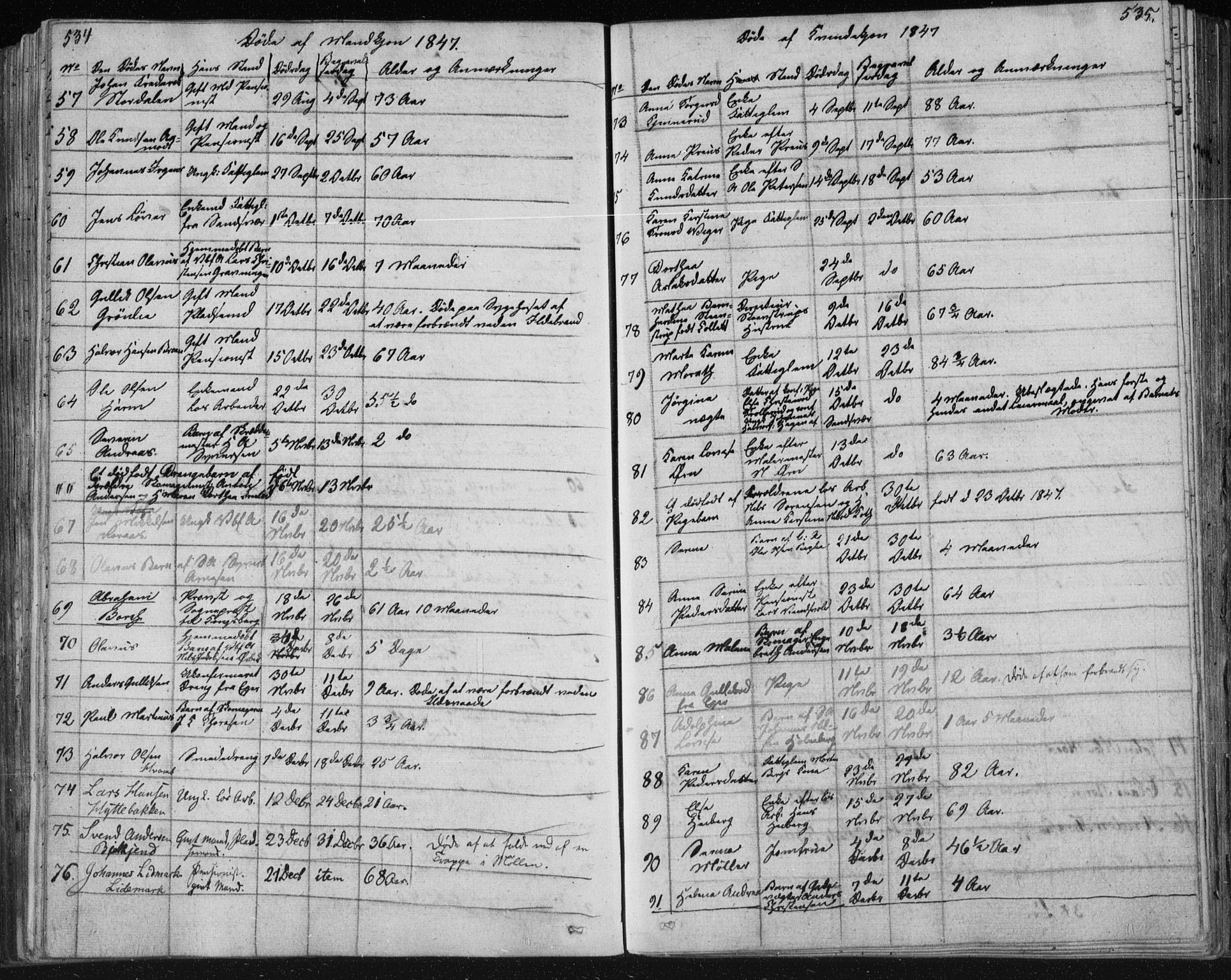SAKO, Kongsberg kirkebøker, F/Fa/L0009: Ministerialbok nr. I 9, 1839-1858, s. 534-535
