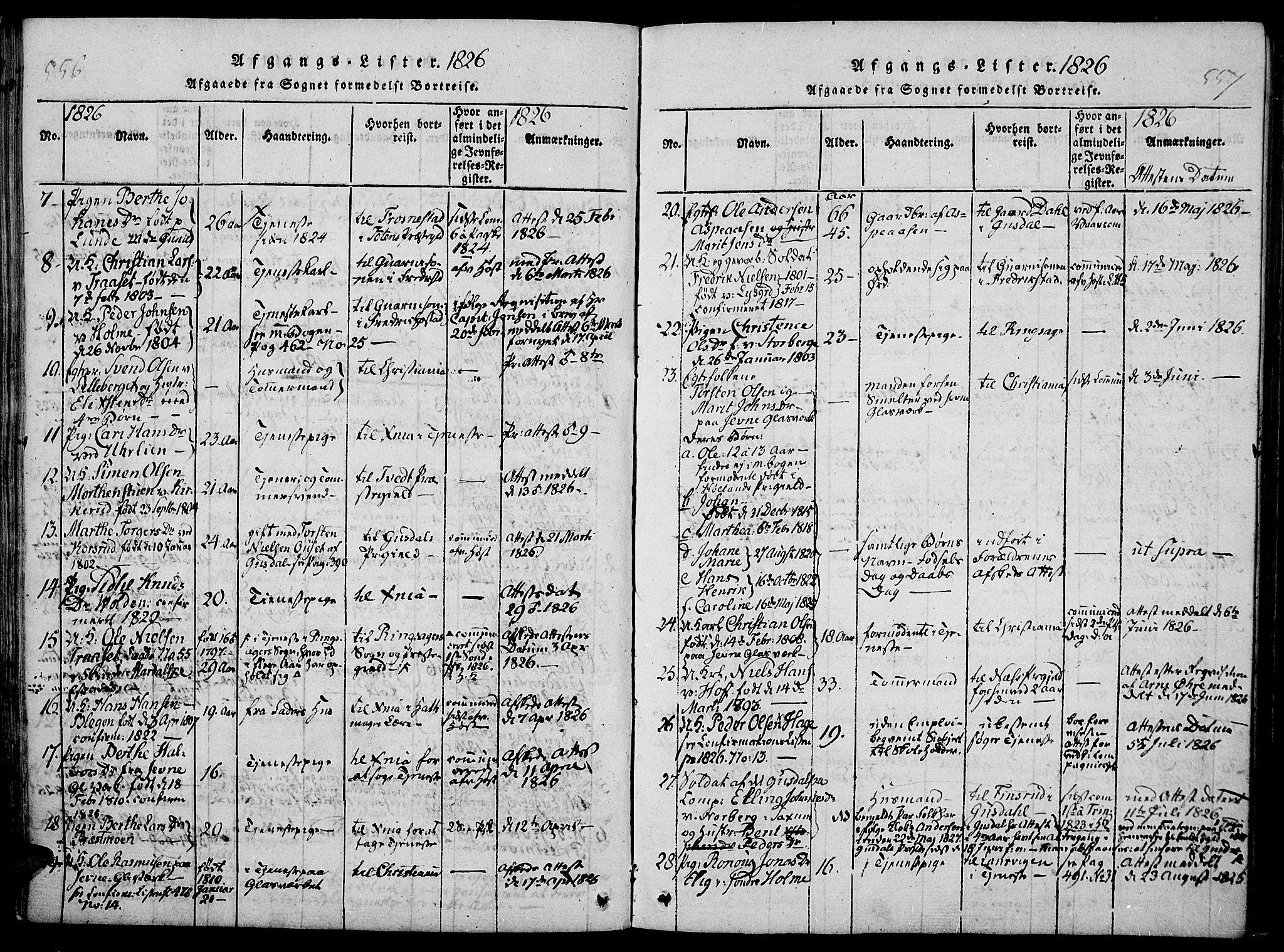 SAH, Fåberg prestekontor, Ministerialbok nr. 3, 1818-1833, s. 556-557