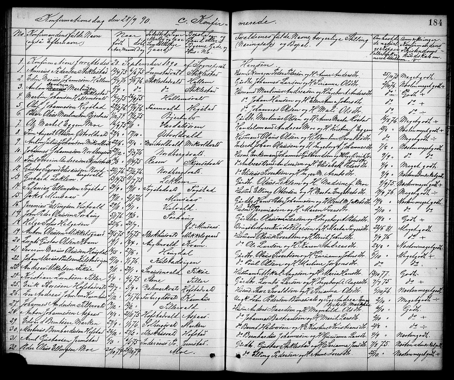 SAT, Ministerialprotokoller, klokkerbøker og fødselsregistre - Nord-Trøndelag, 723/L0257: Klokkerbok nr. 723C05, 1890-1907, s. 184