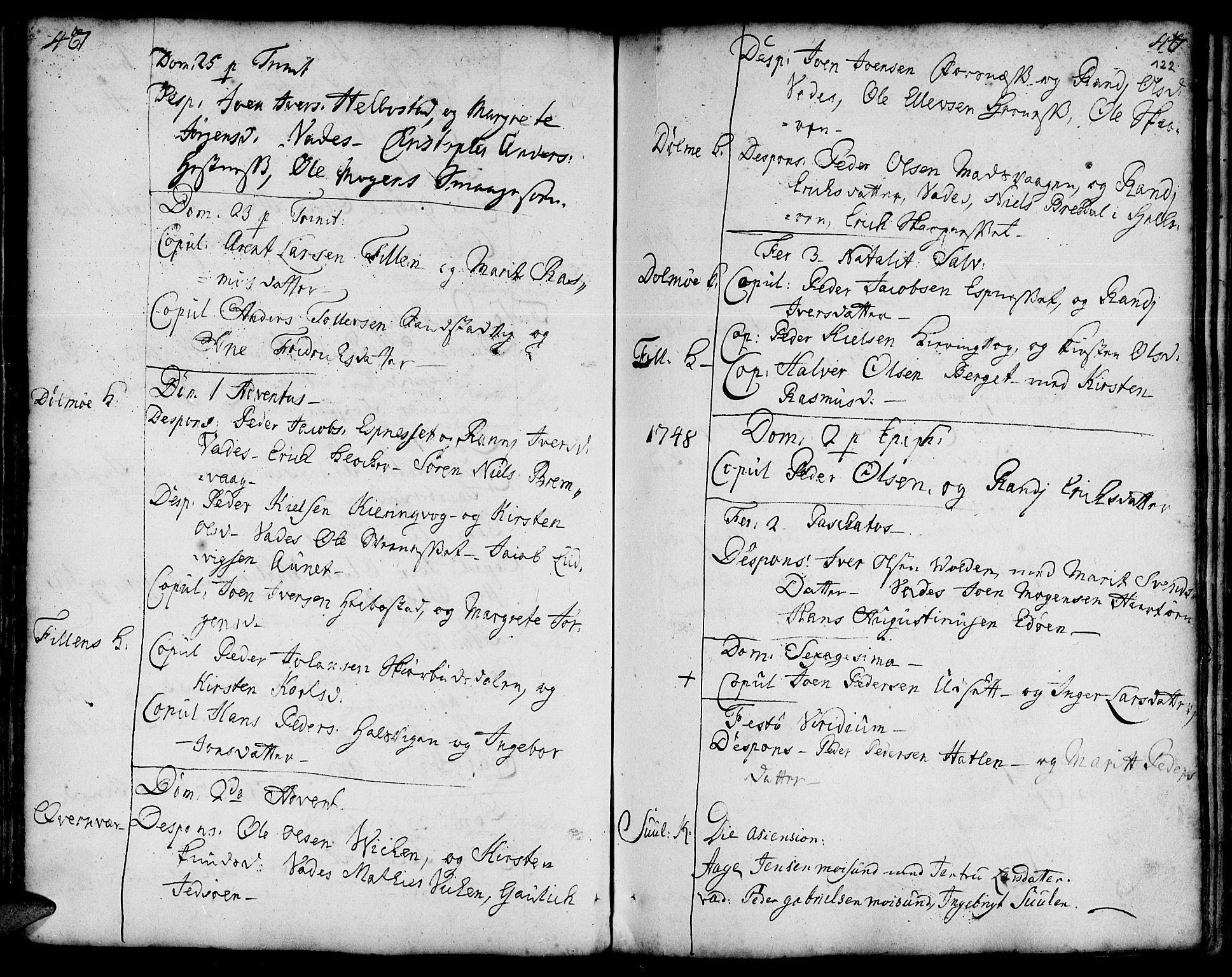 SAT, Ministerialprotokoller, klokkerbøker og fødselsregistre - Sør-Trøndelag, 634/L0525: Ministerialbok nr. 634A01, 1736-1775, s. 122