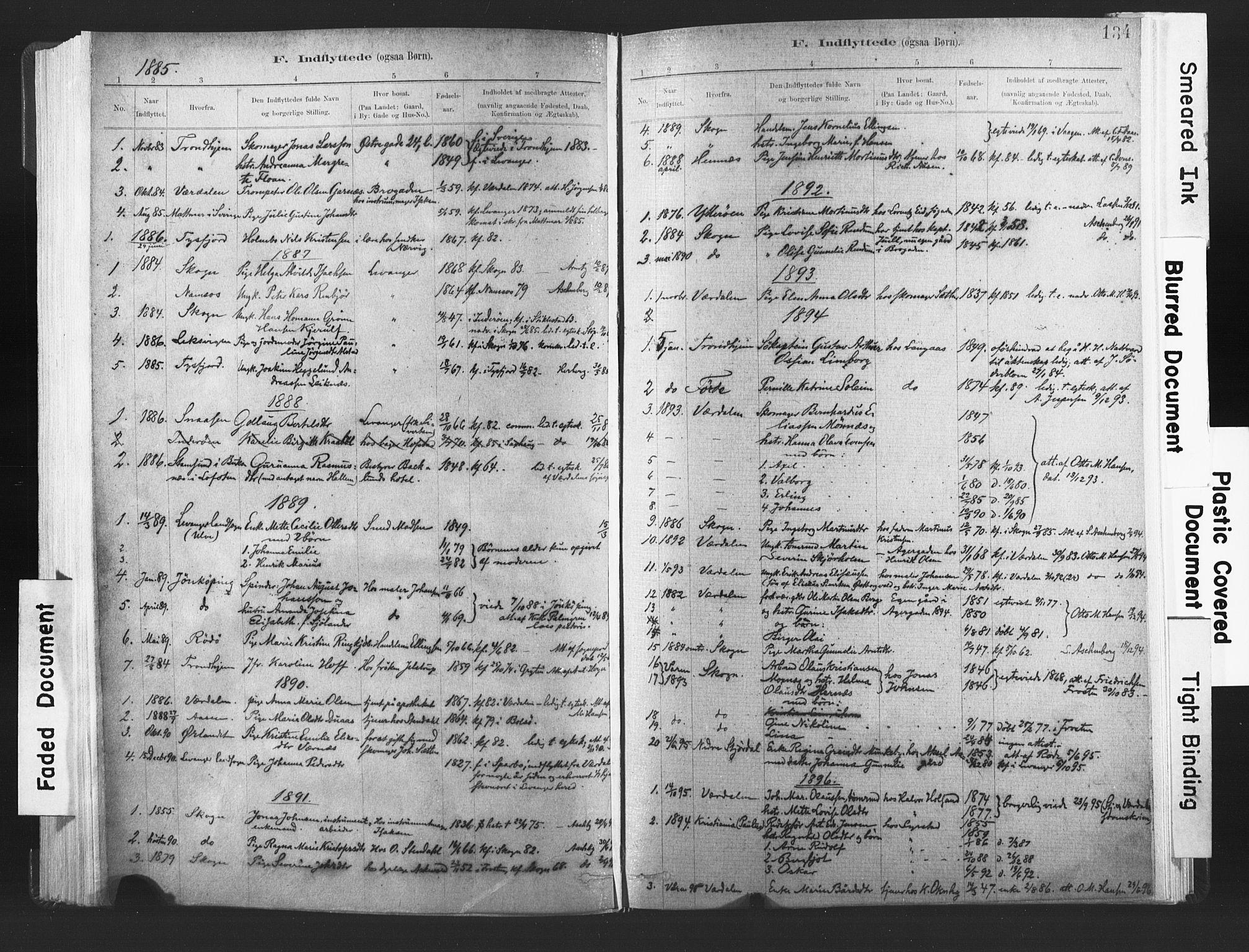 SAT, Ministerialprotokoller, klokkerbøker og fødselsregistre - Nord-Trøndelag, 720/L0189: Ministerialbok nr. 720A05, 1880-1911, s. 134