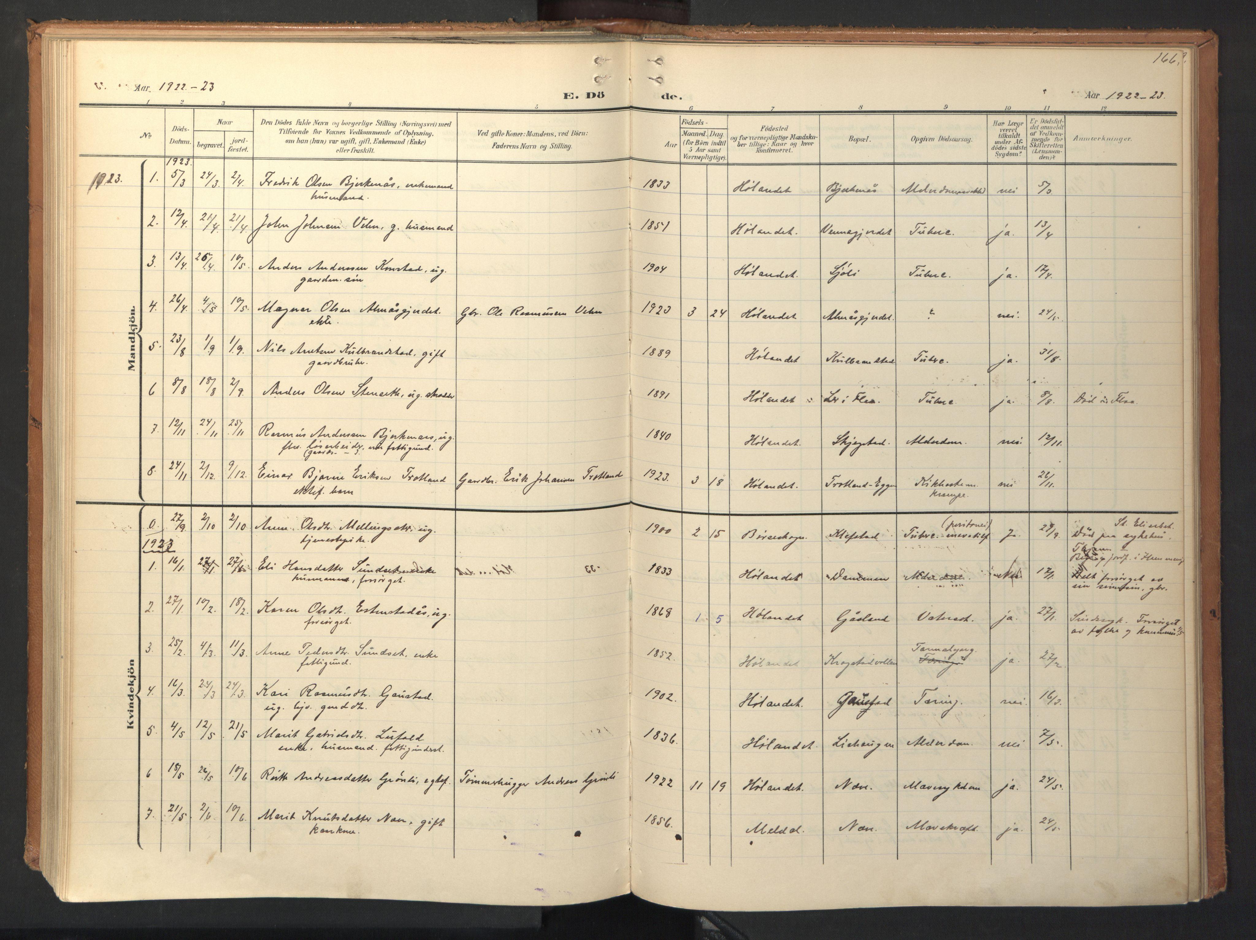 SAT, Ministerialprotokoller, klokkerbøker og fødselsregistre - Sør-Trøndelag, 694/L1128: Ministerialbok nr. 694A02, 1906-1931, s. 166