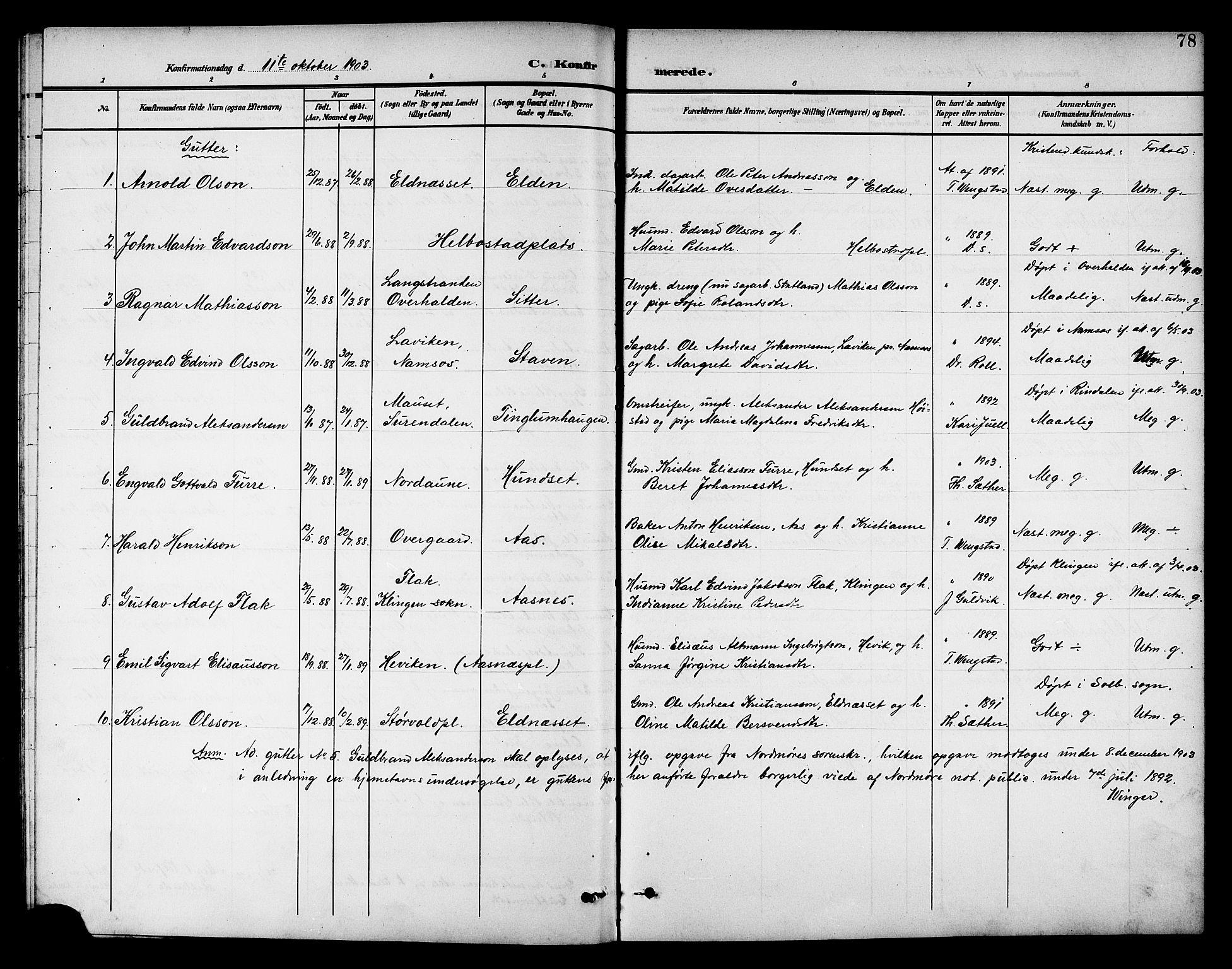 SAT, Ministerialprotokoller, klokkerbøker og fødselsregistre - Nord-Trøndelag, 742/L0412: Klokkerbok nr. 742C03, 1898-1910, s. 78