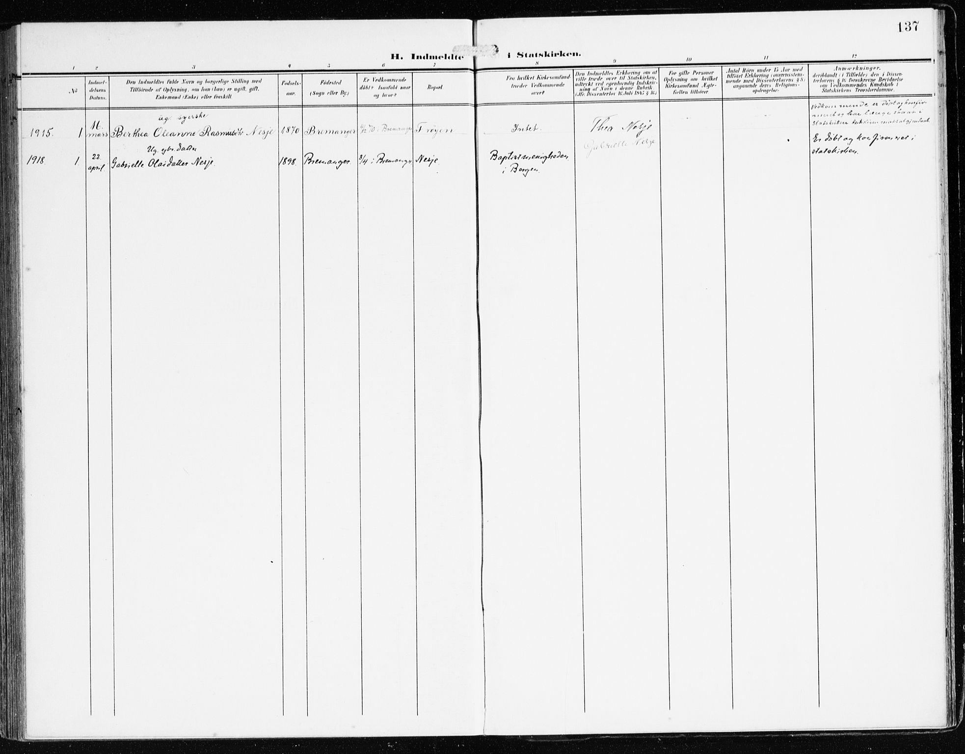 SAB, Bremanger Sokneprestembete, H/Haa: Ministerialbok nr. B 3, 1908-1925, s. 137