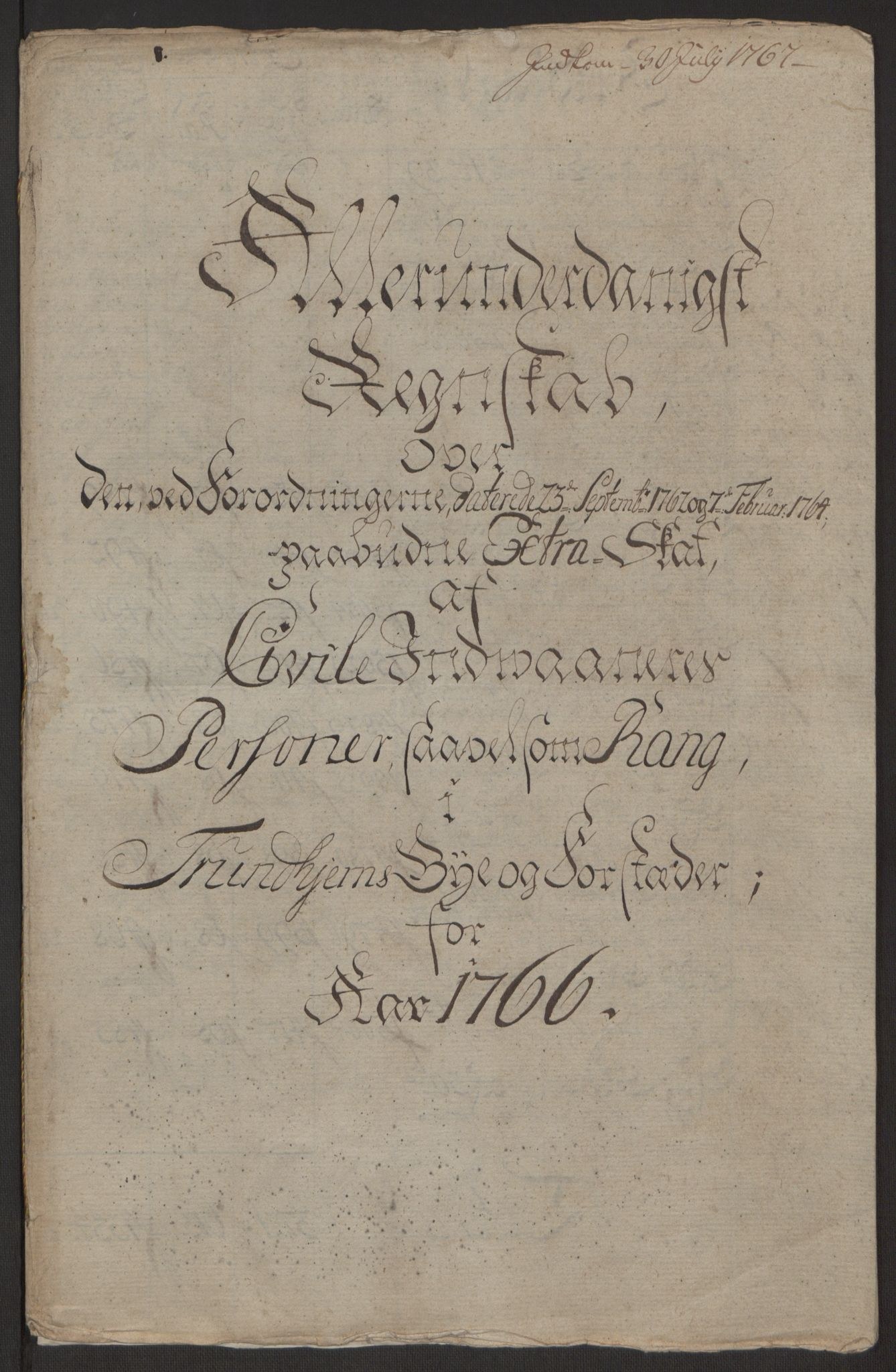 RA, Rentekammeret inntil 1814, Reviderte regnskaper, Byregnskaper, R/Rs/L0516: [S9] Kontribusjonsregnskap, 1762-1767, s. 351