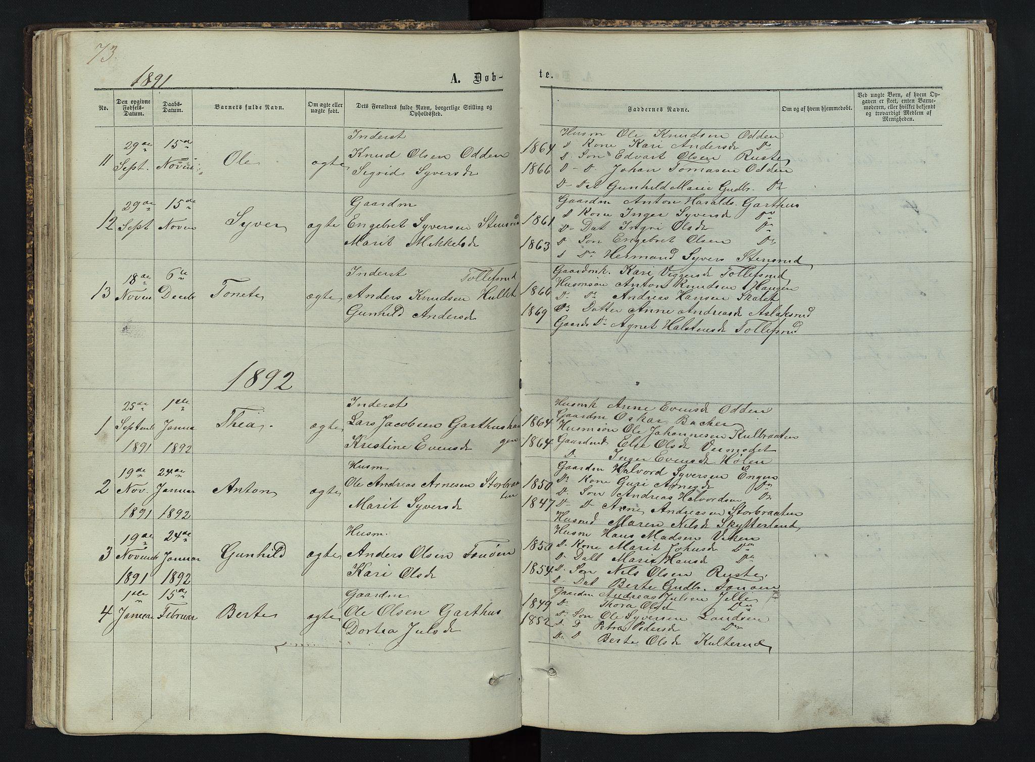 SAH, Sør-Aurdal prestekontor, Klokkerbok nr. 3, 1862-1893, s. 73