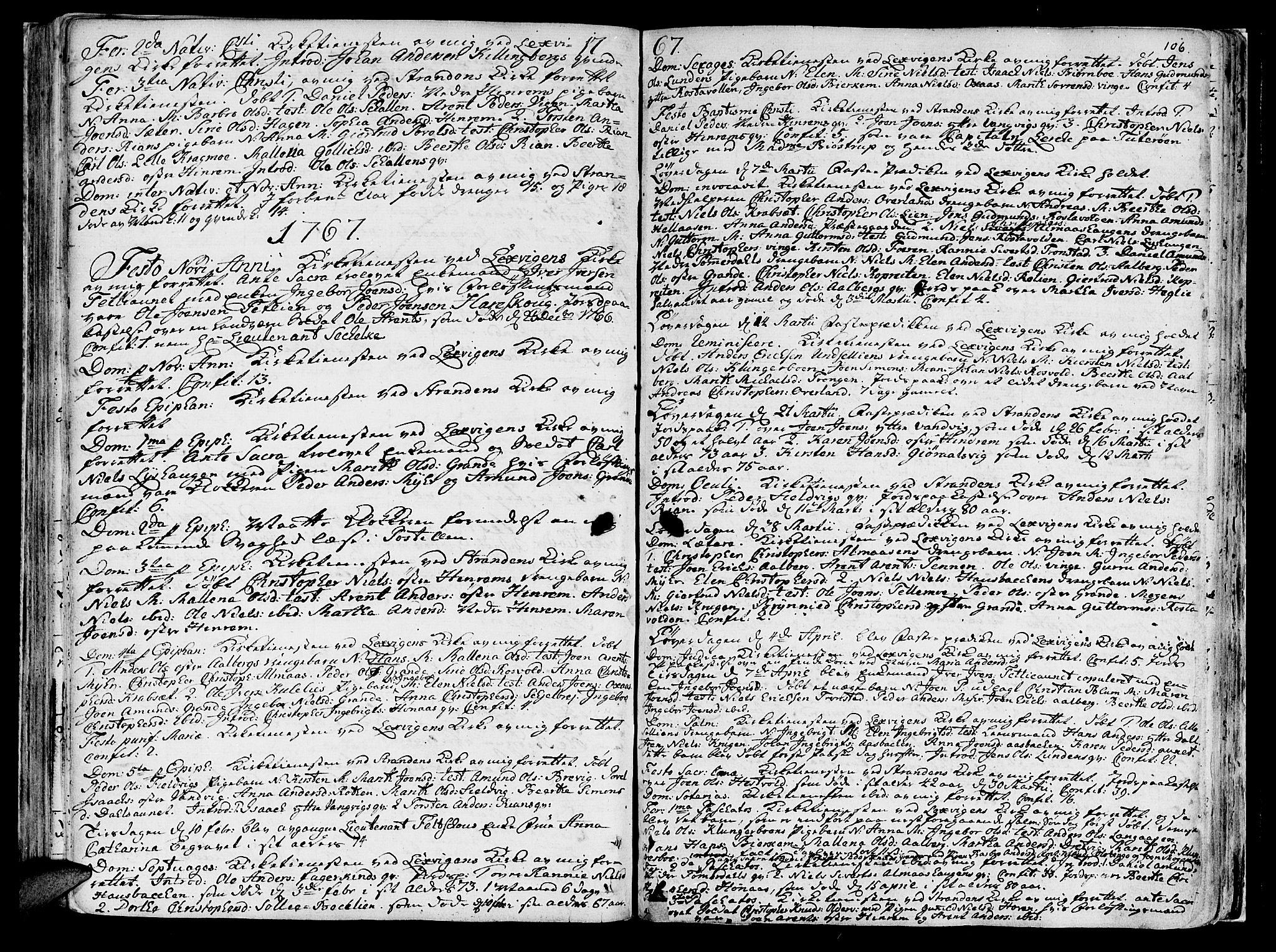 SAT, Ministerialprotokoller, klokkerbøker og fødselsregistre - Nord-Trøndelag, 701/L0003: Ministerialbok nr. 701A03, 1751-1783, s. 106