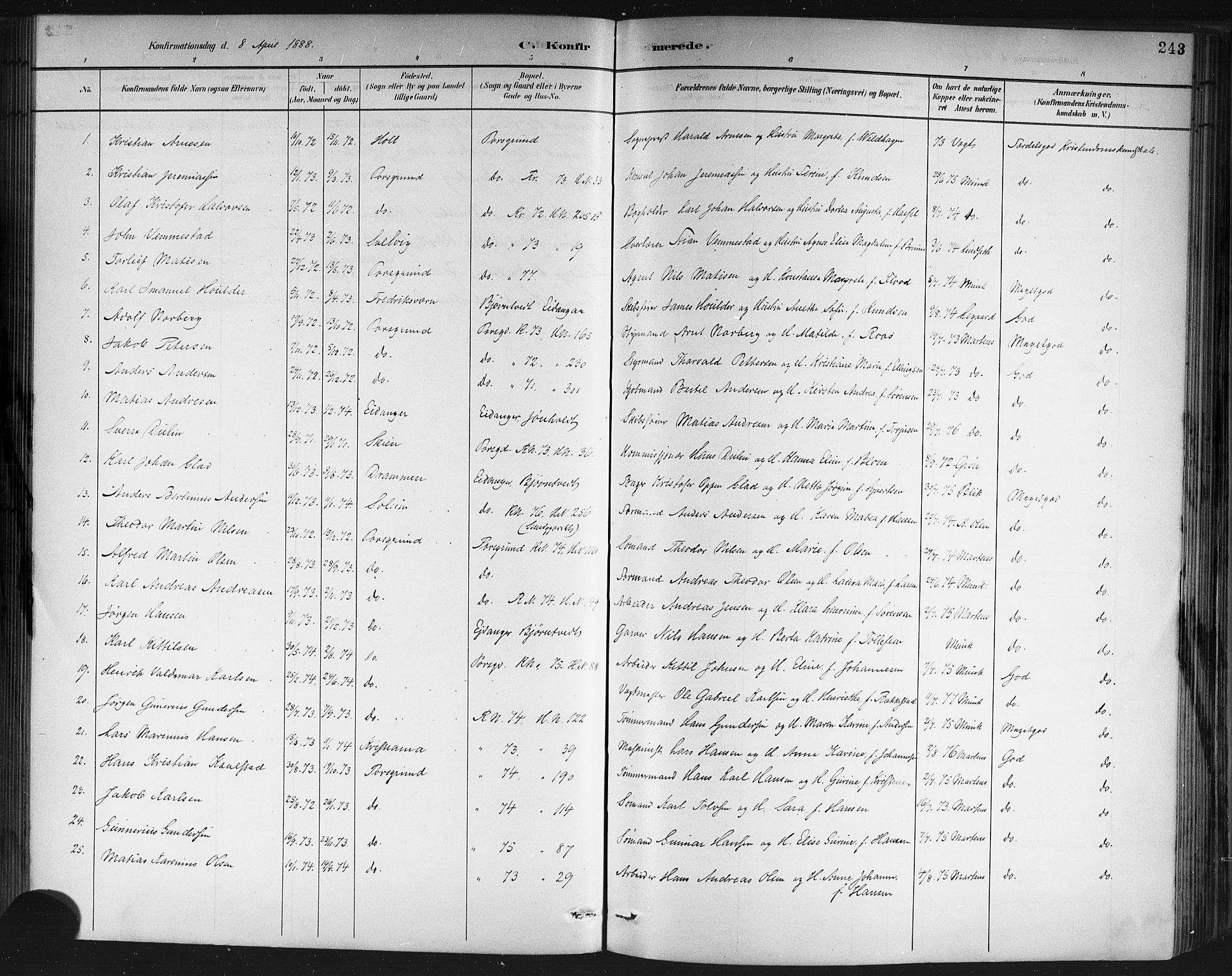 SAKO, Porsgrunn kirkebøker , G/Gb/L0005: Klokkerbok nr. II 5, 1883-1915, s. 243
