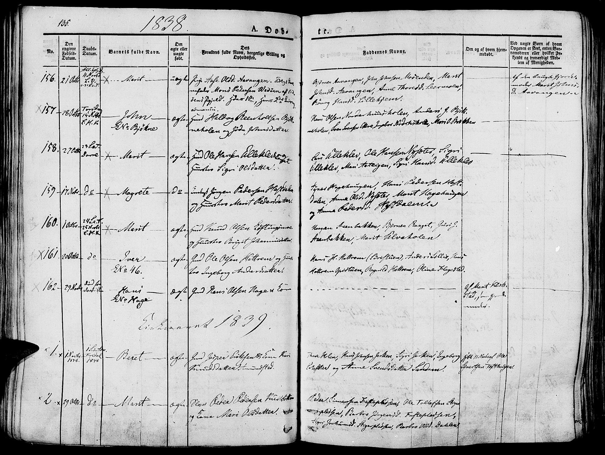 SAH, Lesja prestekontor, Ministerialbok nr. 5, 1830-1842, s. 135