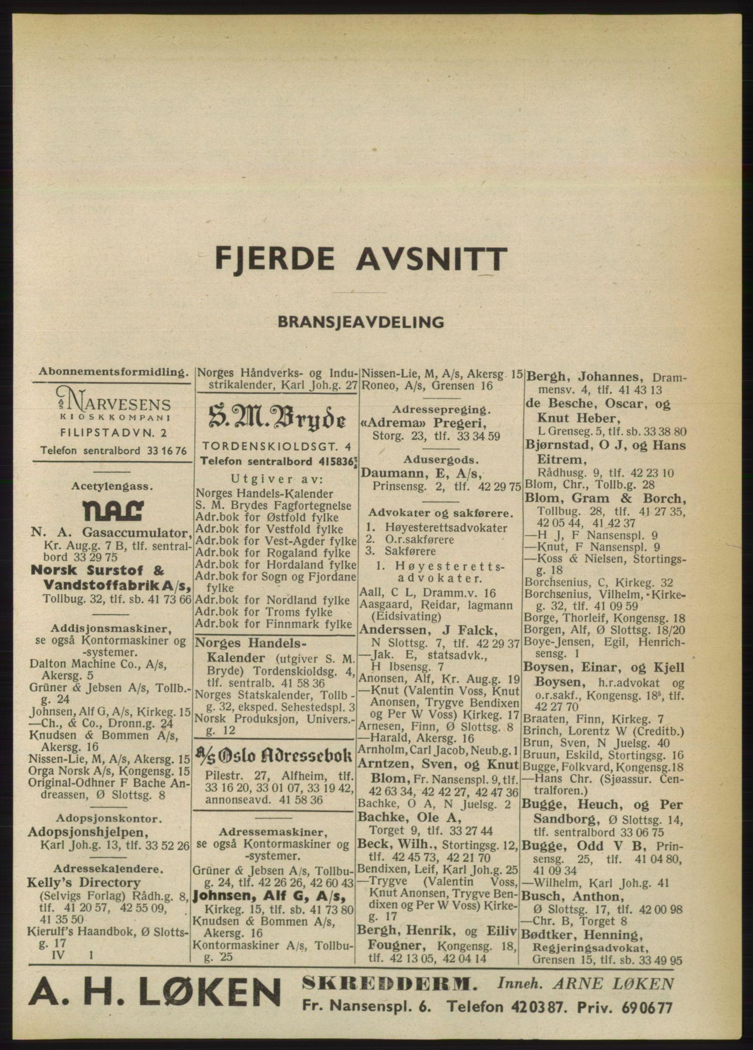 RA, Oslo adressebok (publikasjon)*, 1950, s. 2405