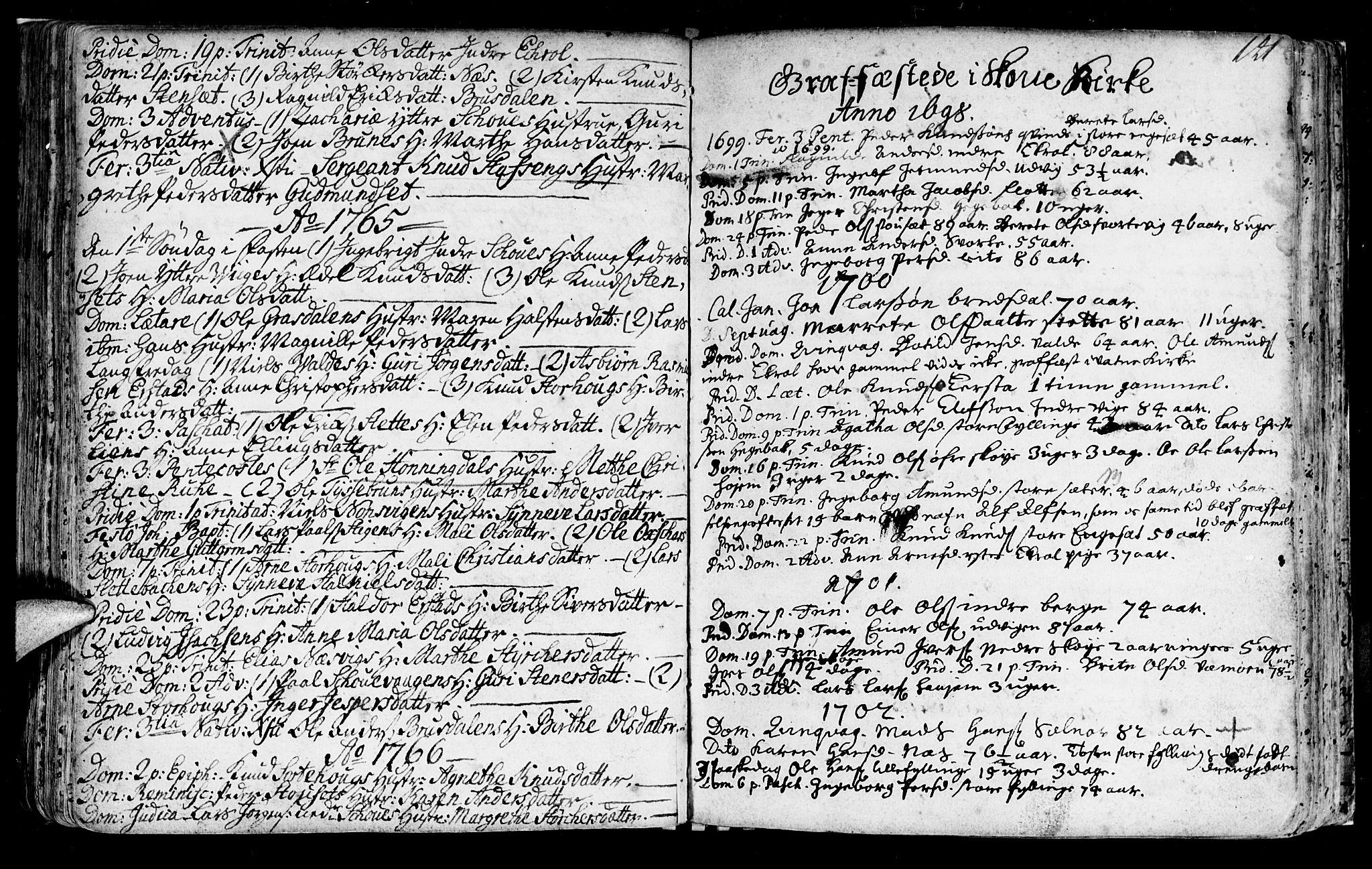 SAT, Ministerialprotokoller, klokkerbøker og fødselsregistre - Møre og Romsdal, 524/L0349: Ministerialbok nr. 524A01, 1698-1779, s. 141