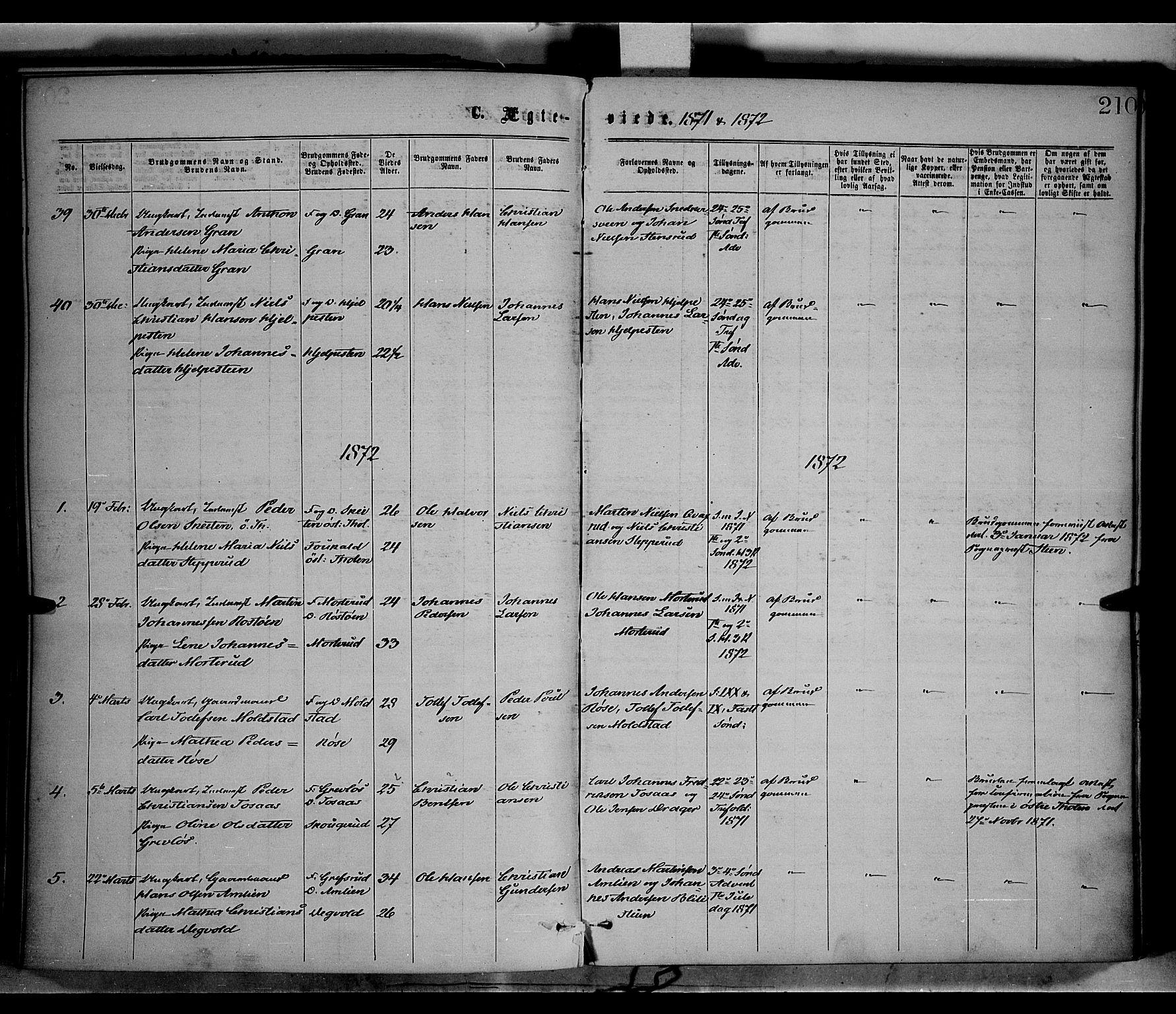 SAH, Vestre Toten prestekontor, Ministerialbok nr. 8, 1870-1877, s. 210