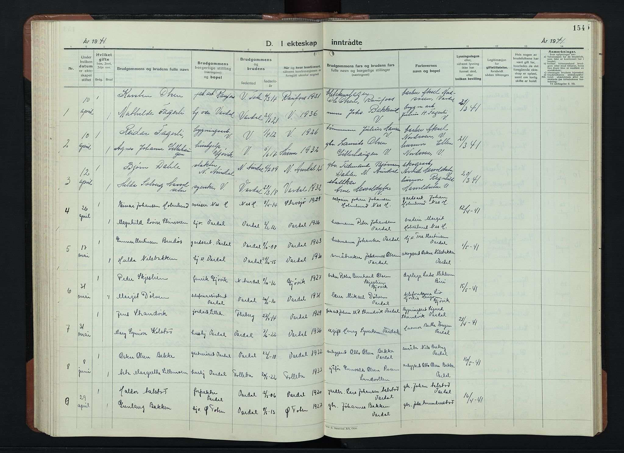 SAH, Vardal prestekontor, H/Ha/Hab/L0018: Klokkerbok nr. 18, 1931-1951, s. 154