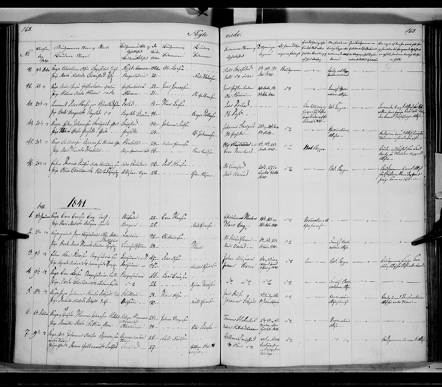 SAH, Østre Toten prestekontor, Ministerialbok nr. 2, 1840-1847, s. 168
